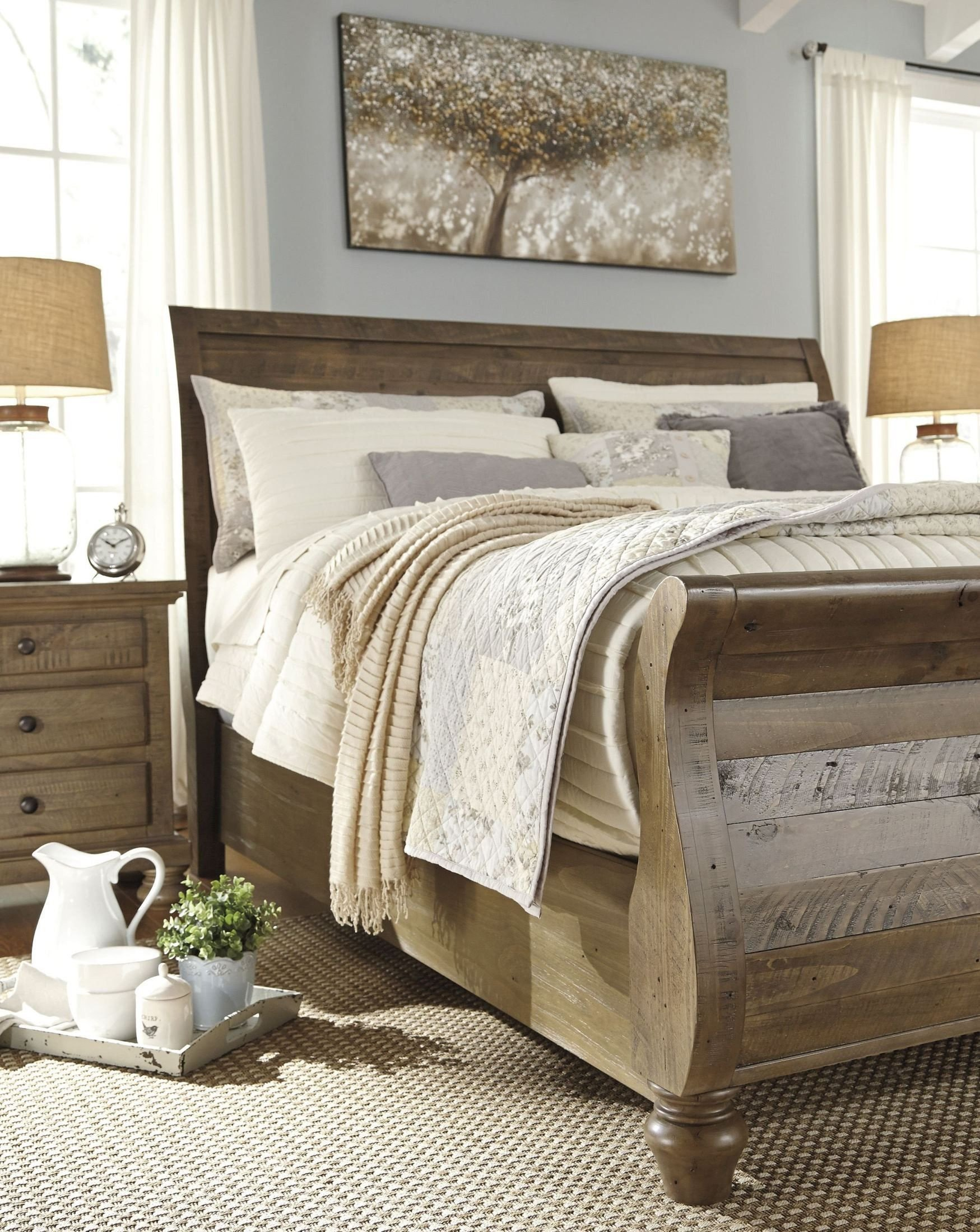 Rustic Pine Bedroom Furniture Unique Trishley Light Brown King Sleigh Bed 1