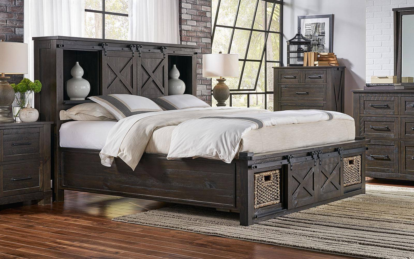 Rustic Queen Bedroom Set Awesome Rustic Queen Rotating Storage Bedroom Set 5pcs Suvcl5032 A