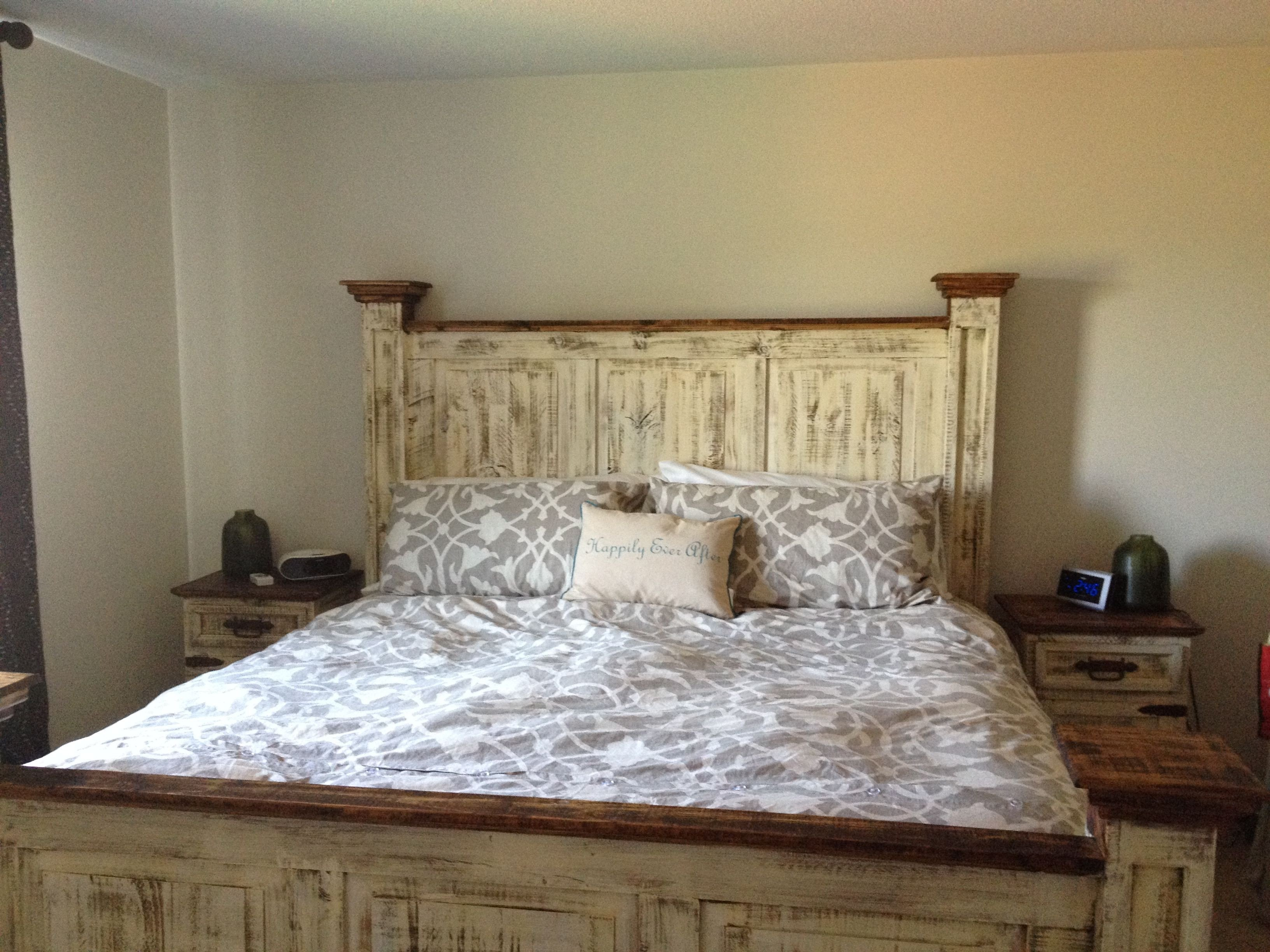 Rustic White Bedroom Set Beautiful Mexican Pine White Wash Antiqued Tall Headboard Queen Bed