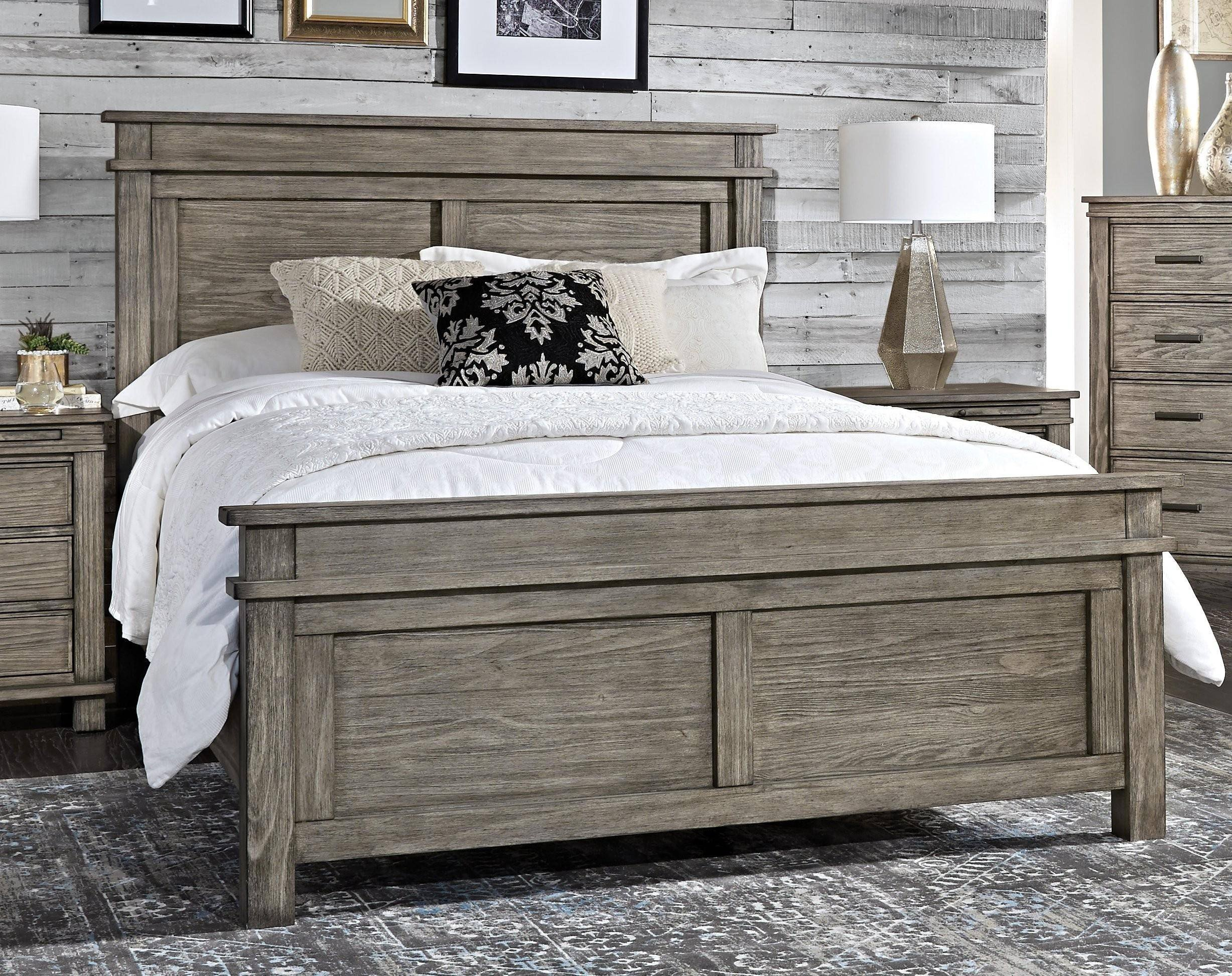 Rustic White Bedroom Set New Rustic Cal King Panel Bedrom Set 4ps Greystone Glpgr5230 A