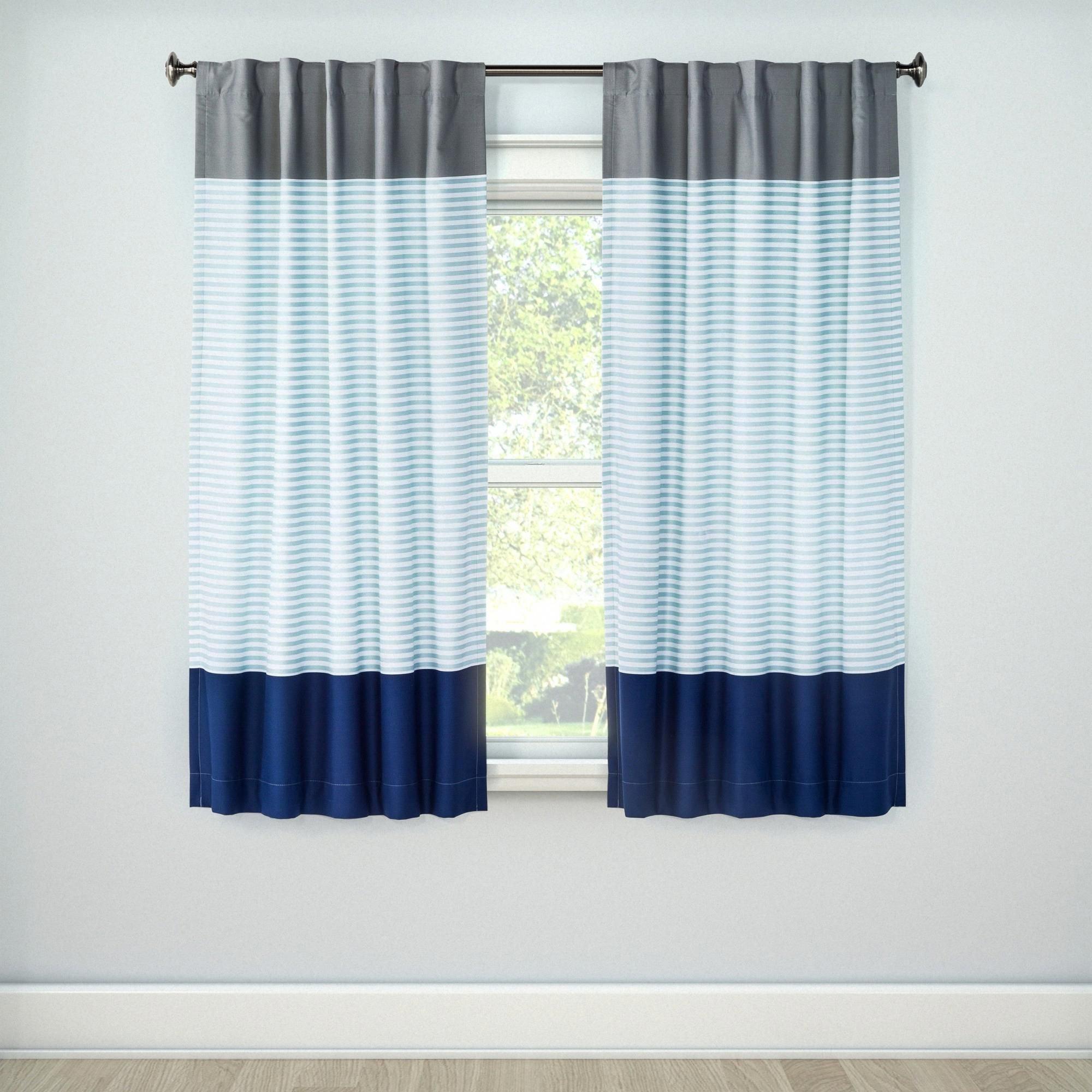 "Short Curtains for Bedroom Elegant Colorblock Light Blocking Window Curtain 84""x42"" Blue"