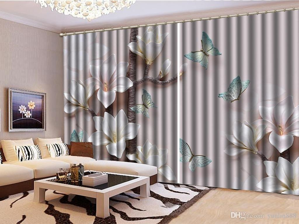 Short Curtains for Bedroom Unique 2019 3d Floral Curtain Fantasy Pink Flowers Blue butterfly Living Room Bedroom Beautiful Practical Shade Curtains From Yunlin888 $201 01