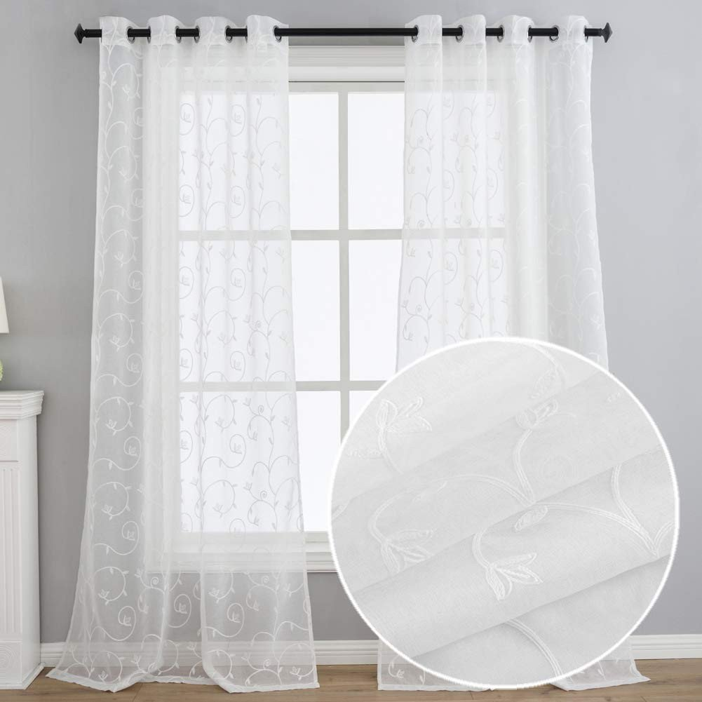 Short Curtains for Bedroom Windows Luxury Kotile Floral Swirl Embroidered Semi Sheer Curtains for Living Room Grommet 63 Inches Length White Short Window Panels Set Of 2 Panels