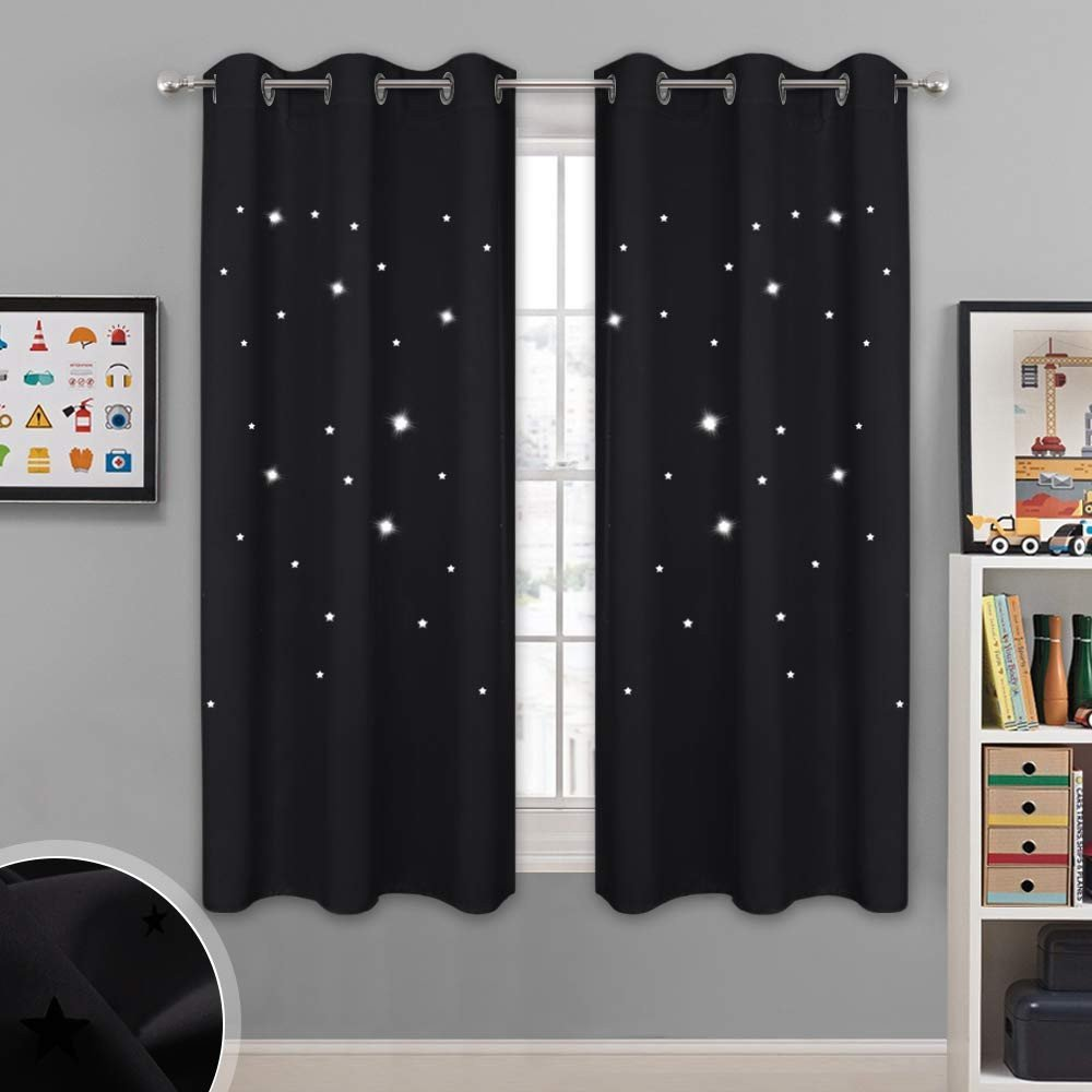 Short Curtains for Bedroom Windows New Nicetown Magic Starry Window Drapes Laser Cutting Stars Nap Time Blackout Window Curtains for Children S Room Nursery themed Home Space Lovers