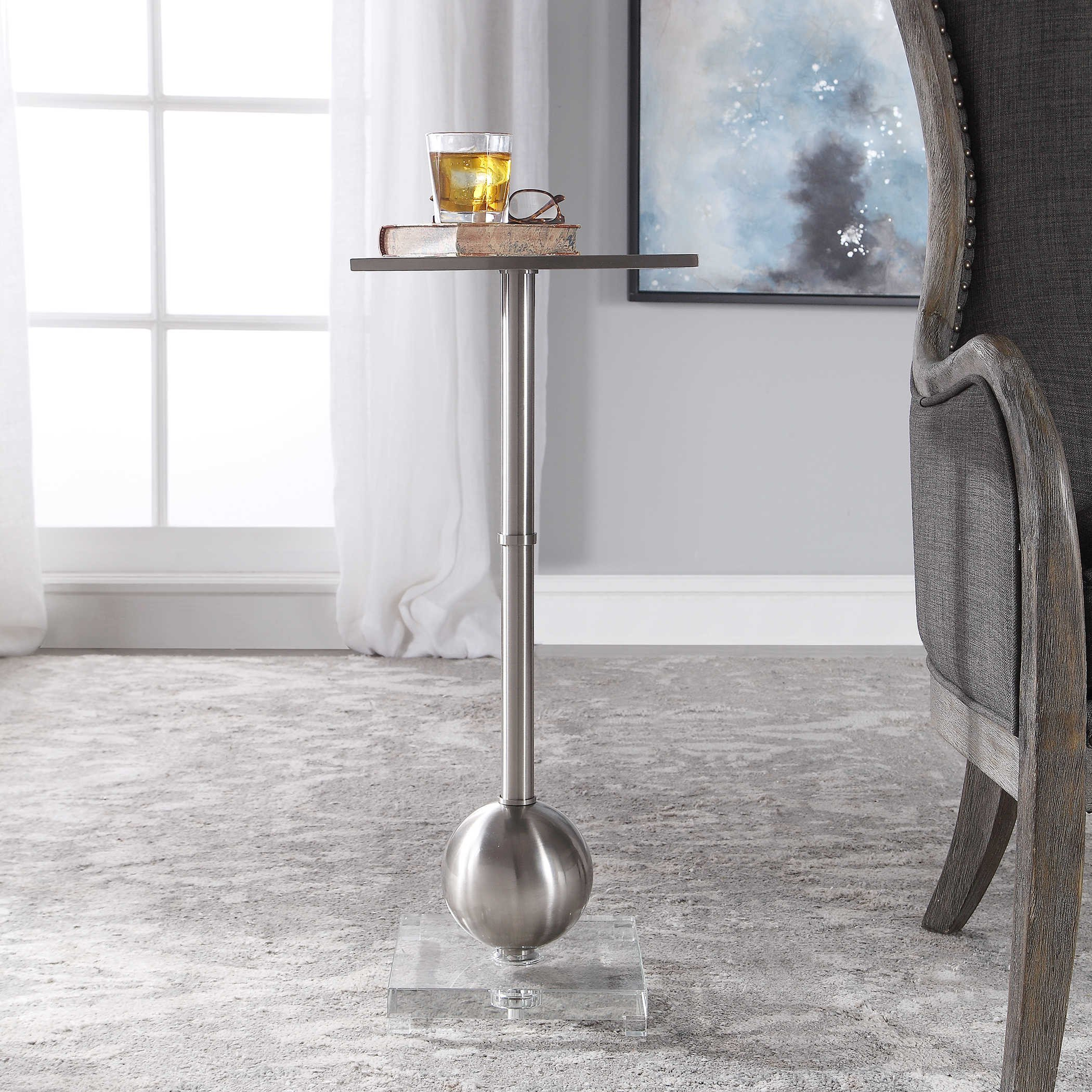 Side Table for Bedroom Unique Laton Accent Table Silver