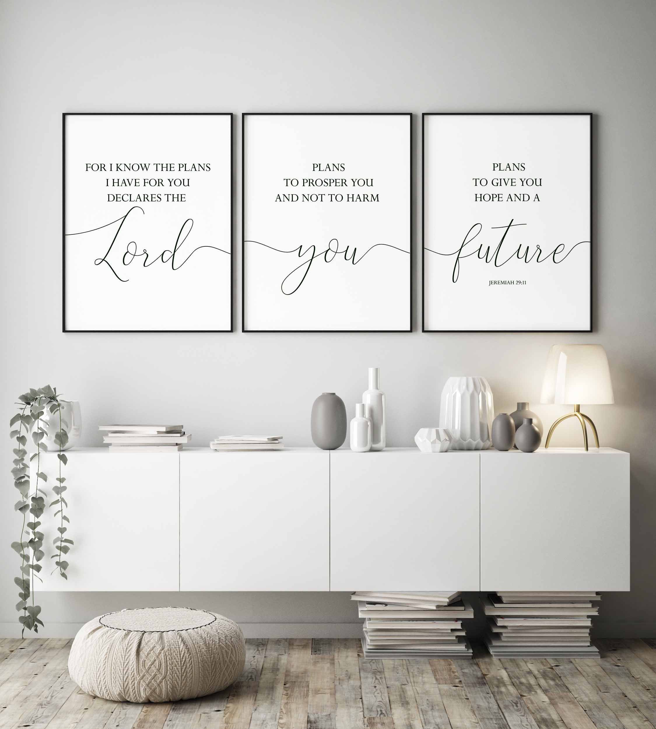 Signs for Bedroom Walls Inspirational for I Know the Plans I Have for You Print Bible Verse Wall