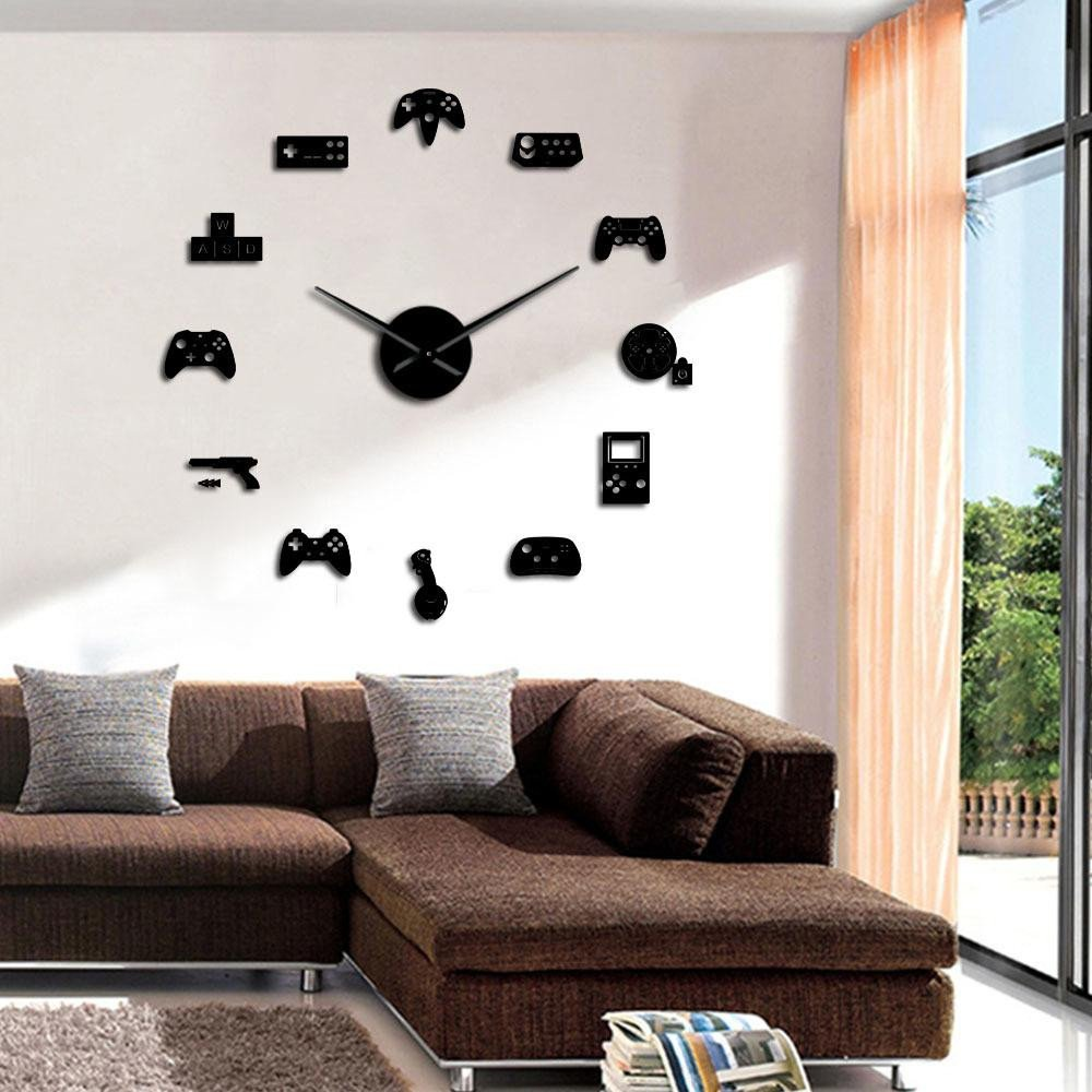Signs for Bedroom Walls Luxury Game Controller Video Diy Giant Wall Clock Game Joysticks Stickers Gamer Wall Art Video Gaming Signs Boy Bedroom Game Room Decor Y Clock