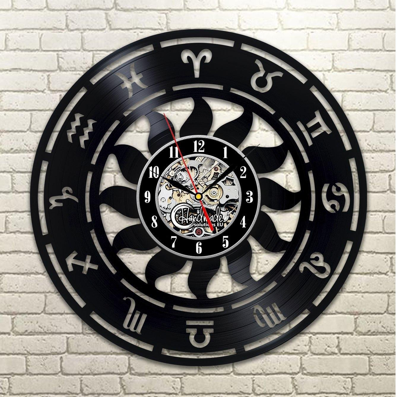 Signs for Bedroom Walls Unique Diy Gift for Zodiac Vinyl Wall Clock Nursery Bedroom Decor Room Art Signs Decorations Birthday Gifts for Horoscope ornament Sign Wall Clock for
