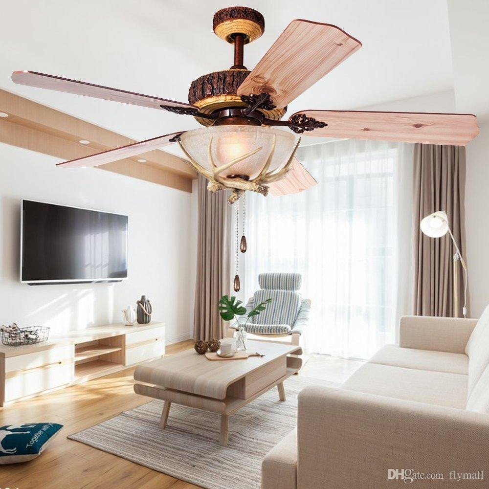 Silent Fan for Bedroom Unique 2019 Rustic Ceiling Fan 52inch Indoor Home Decoration Living Room Antlers Silent Industrial Fans Chandelier Vintage Pendant Light Wood Blades From