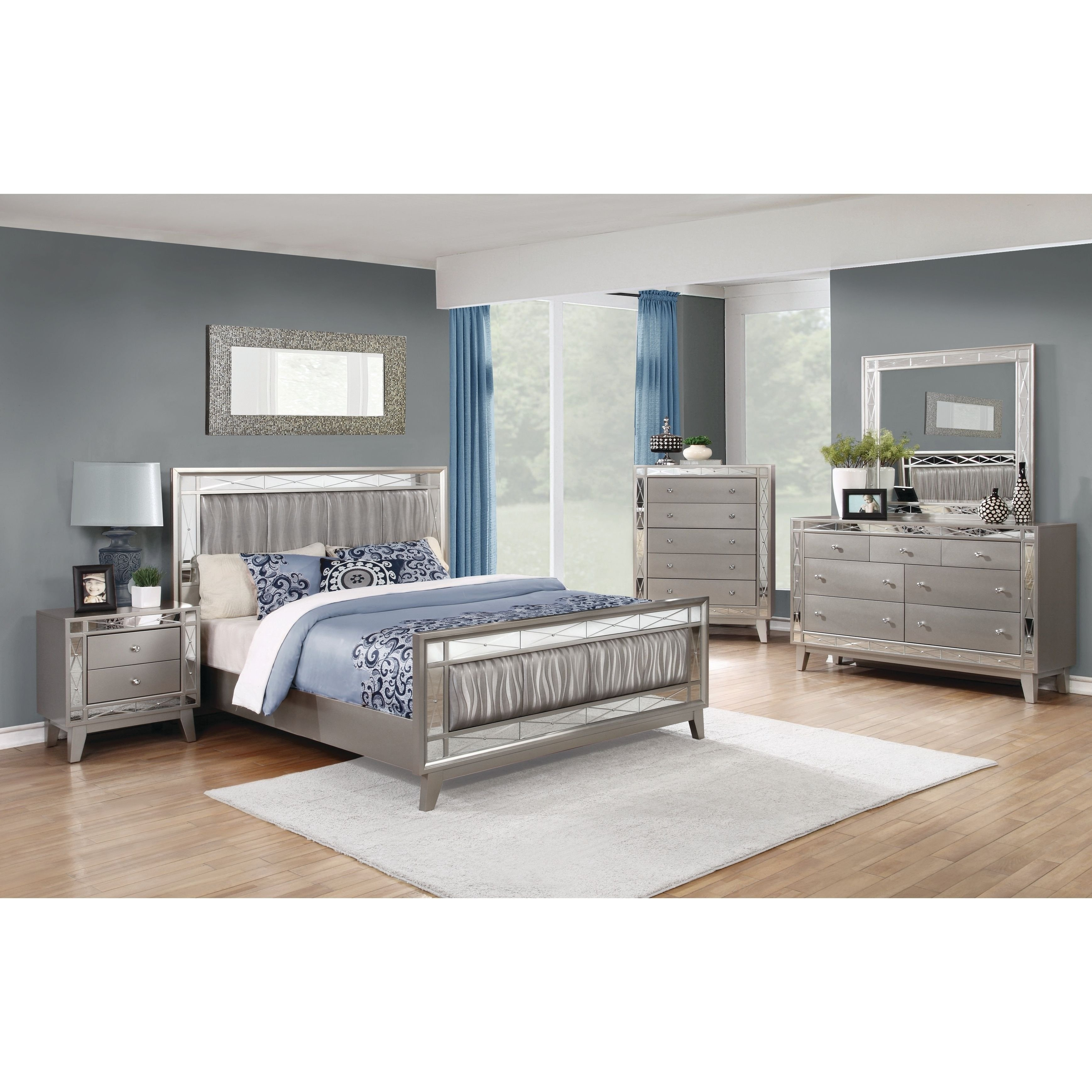 Silver Grey Bedroom Furniture Awesome Silver orchid Barriscale Contemporary Metallic 5 Piece