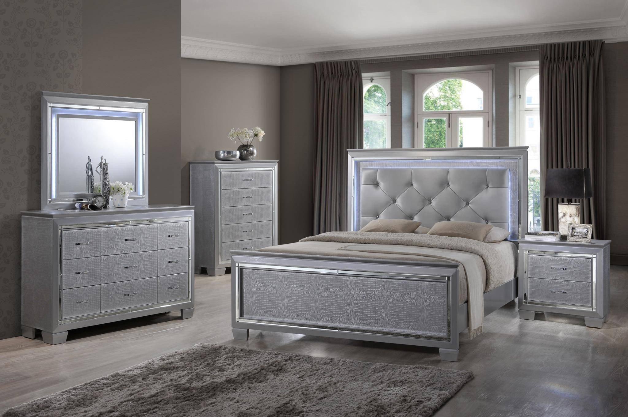 Silver Grey Bedroom Furniture Elegant Myco Furniture Ma700 K Martina Silver Diamond Tufted King
