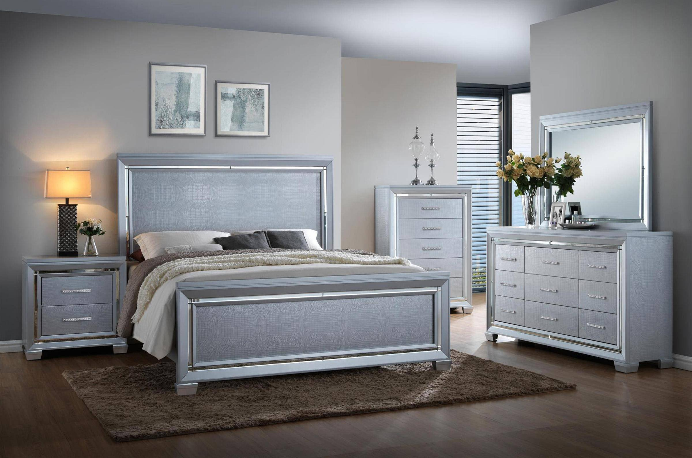 Silver Grey Bedroom Furniture Fresh Crocodile Texture King Panel Bed Myco Luca Silver Lu735 K