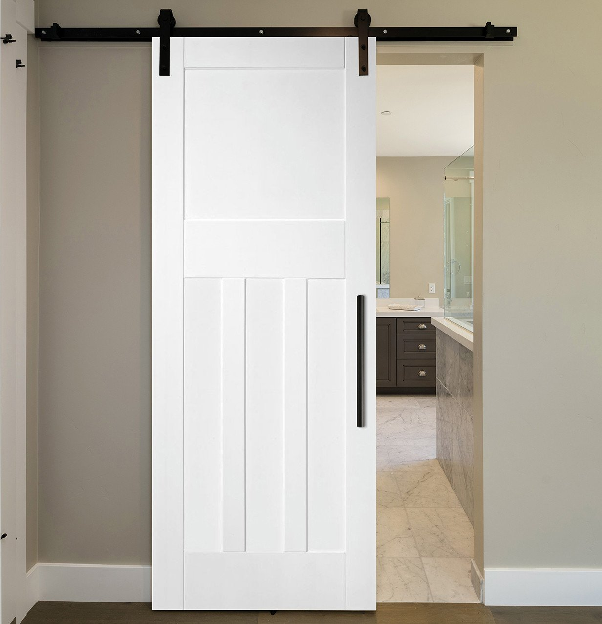 Sliding Barn Door for Bedroom Lovely 3 Vertical and 1 top Panels Sliding Mdf Shaker Barn Door Swd 0008