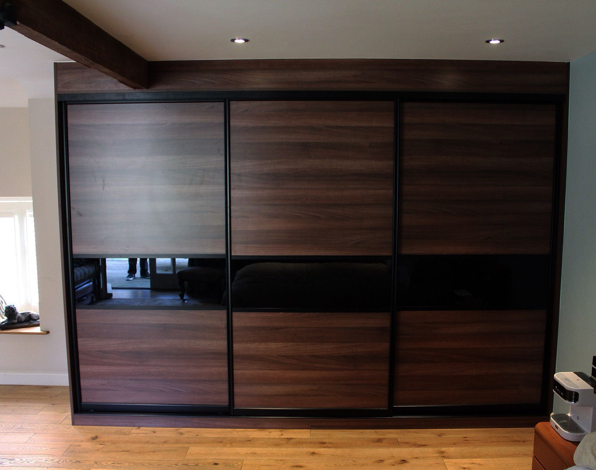 Sliding Doors for Bedroom Fresh Just Installed A Beautiful Walnut and Black Glass Bedroom