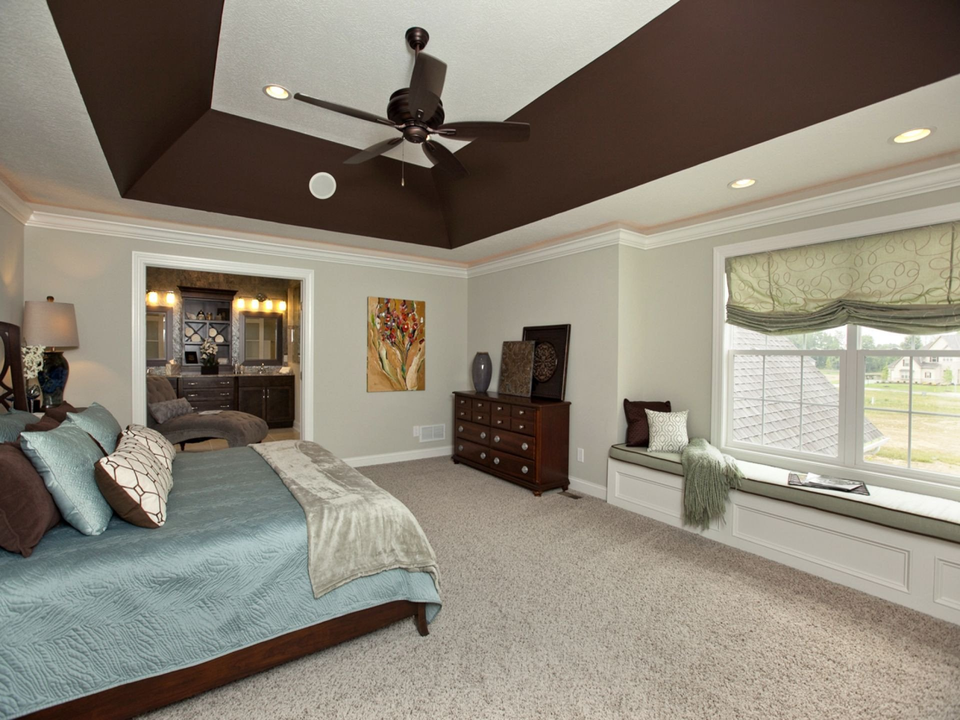 Sloped Ceiling Bedroom Ideas Luxury Deep Angled Tray Ceiling In Master Bedroom 3 Pillar Homes