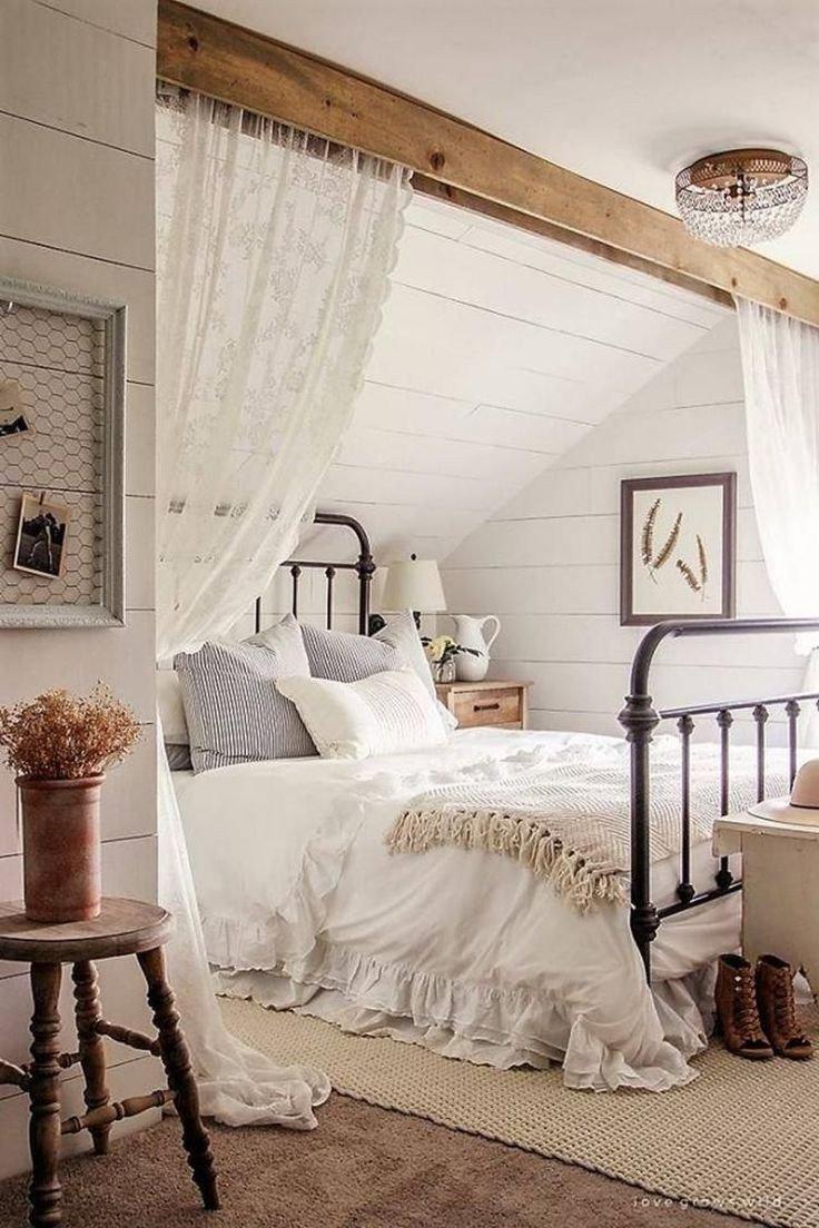 Sloped Ceiling Bedroom Ideas Unique 60 Romantic Rustic Farmhouse Master Bedroom Decorating