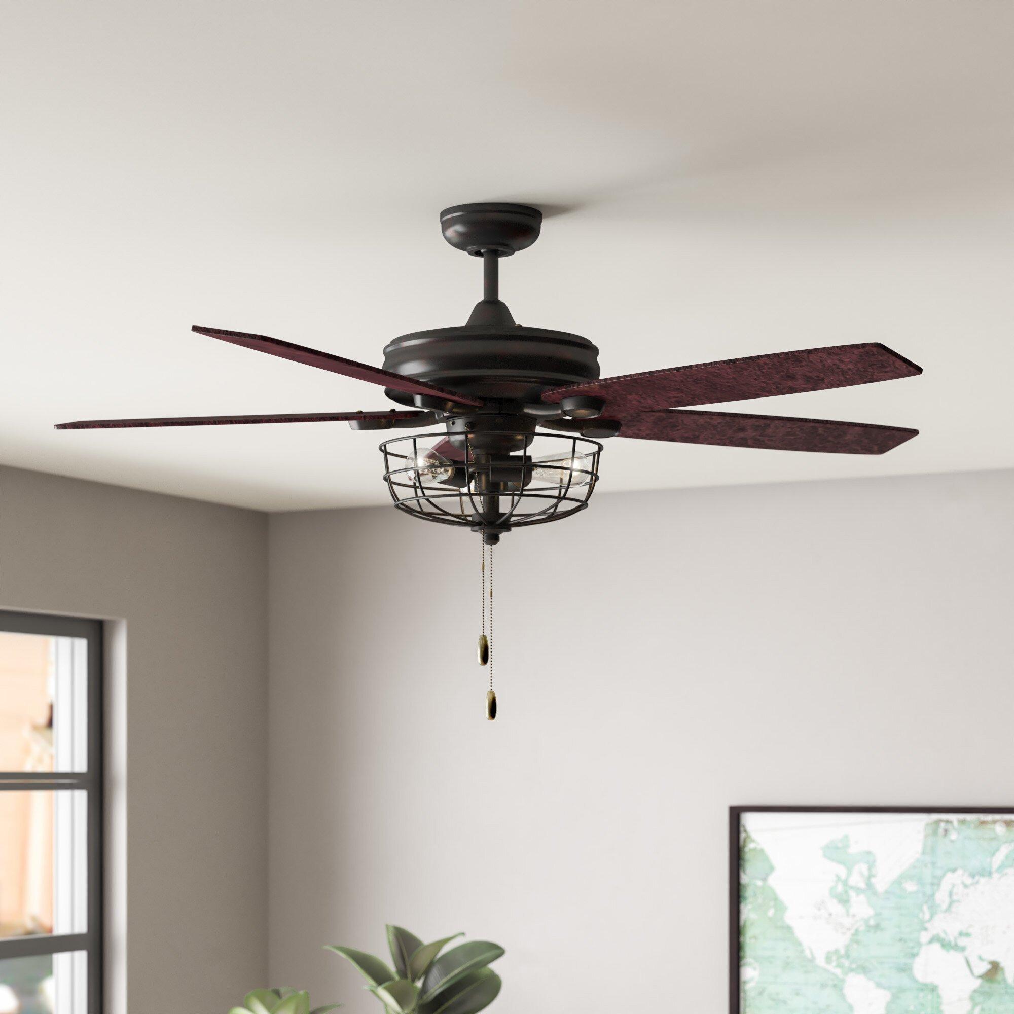 """Small Bedroom Ceiling Fan Beautiful 52"""" Glenpool 5 Blade Ceiling Fan Light Kit Included"""