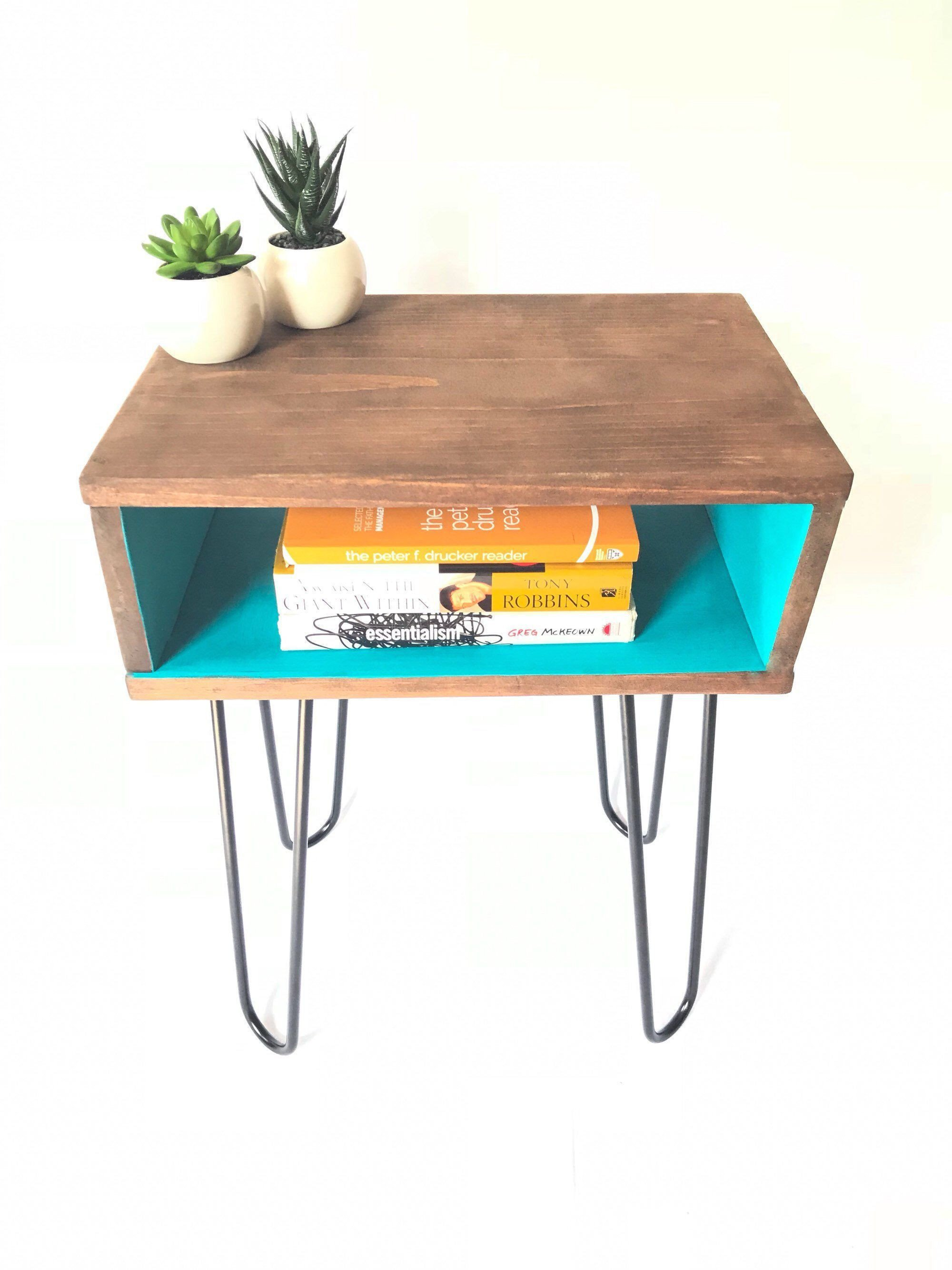 Small Bedroom Side Tables Unique Industrial Hairpin Nightstand