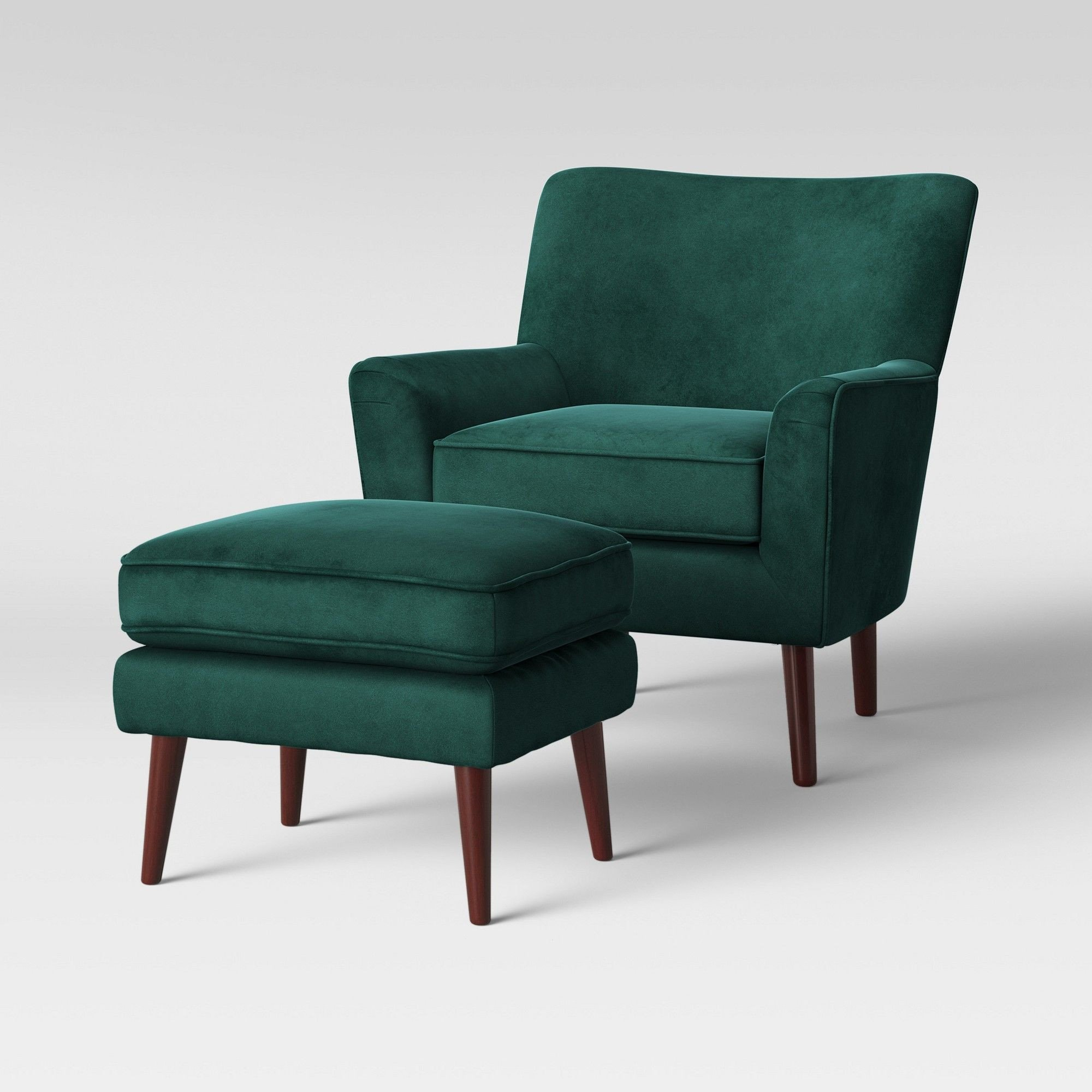 Small Comfy Chair for Bedroom Lovely 2pc Englund Chair and Ottoman Dark Green Velvet Project 62