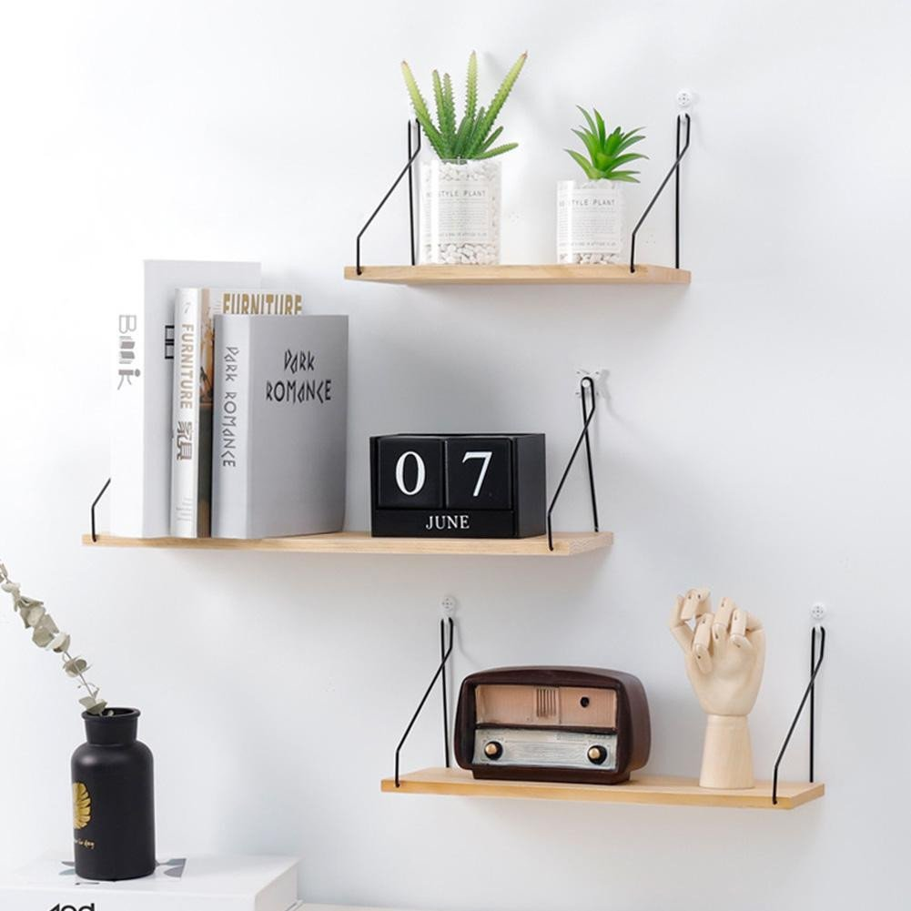 Small Shelves for Bedroom Beautiful solid Wooden Wall Shelf Iron Partition Board Bedroom Tv Wall Hanging Storage Shelf Rack for Home & Living Room Decoration