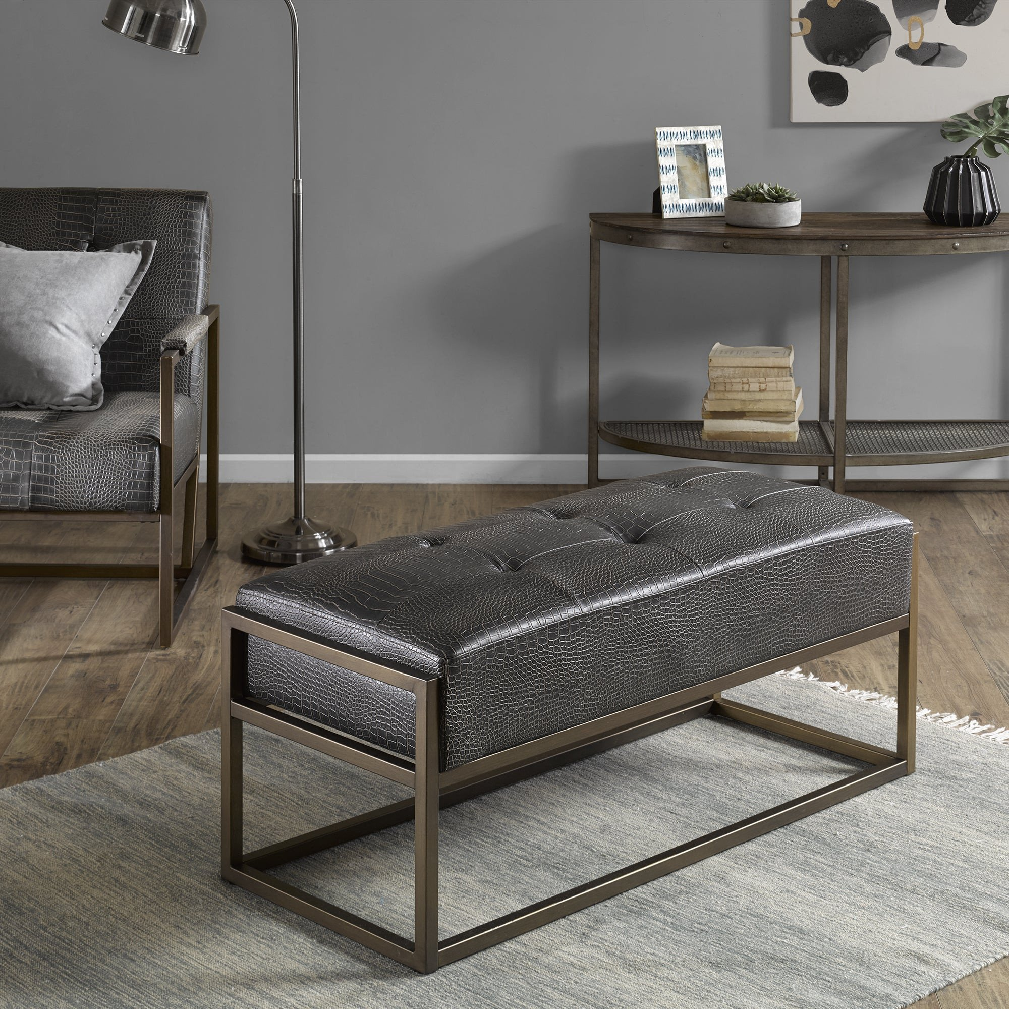 Small Storage Bench for Bedroom Unique Strick & Bolton normani Brown Faux Leather Upholstered Antique Bronze Metal Bench