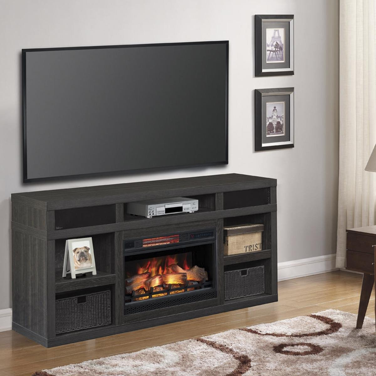 "Small Tv for Bedroom New Fabio Flames Greatlin 64"" Tv Stand In Black Walnut"
