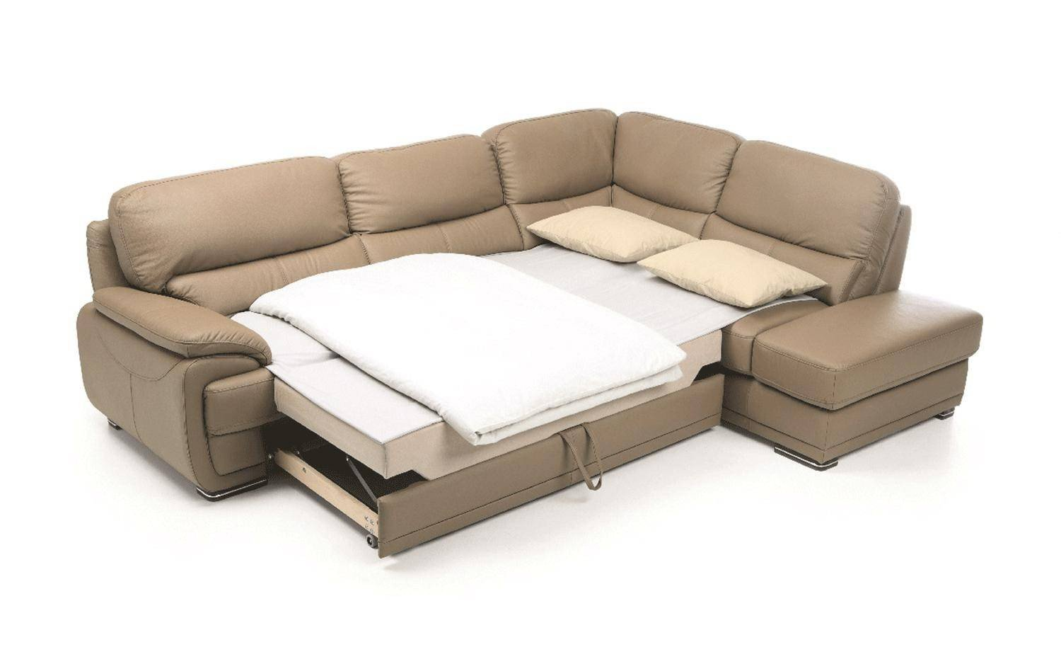 Sofa Bed for Bedroom Inspirational Chic Beige Full Leather Sectional sofa Bed W Storage Modern