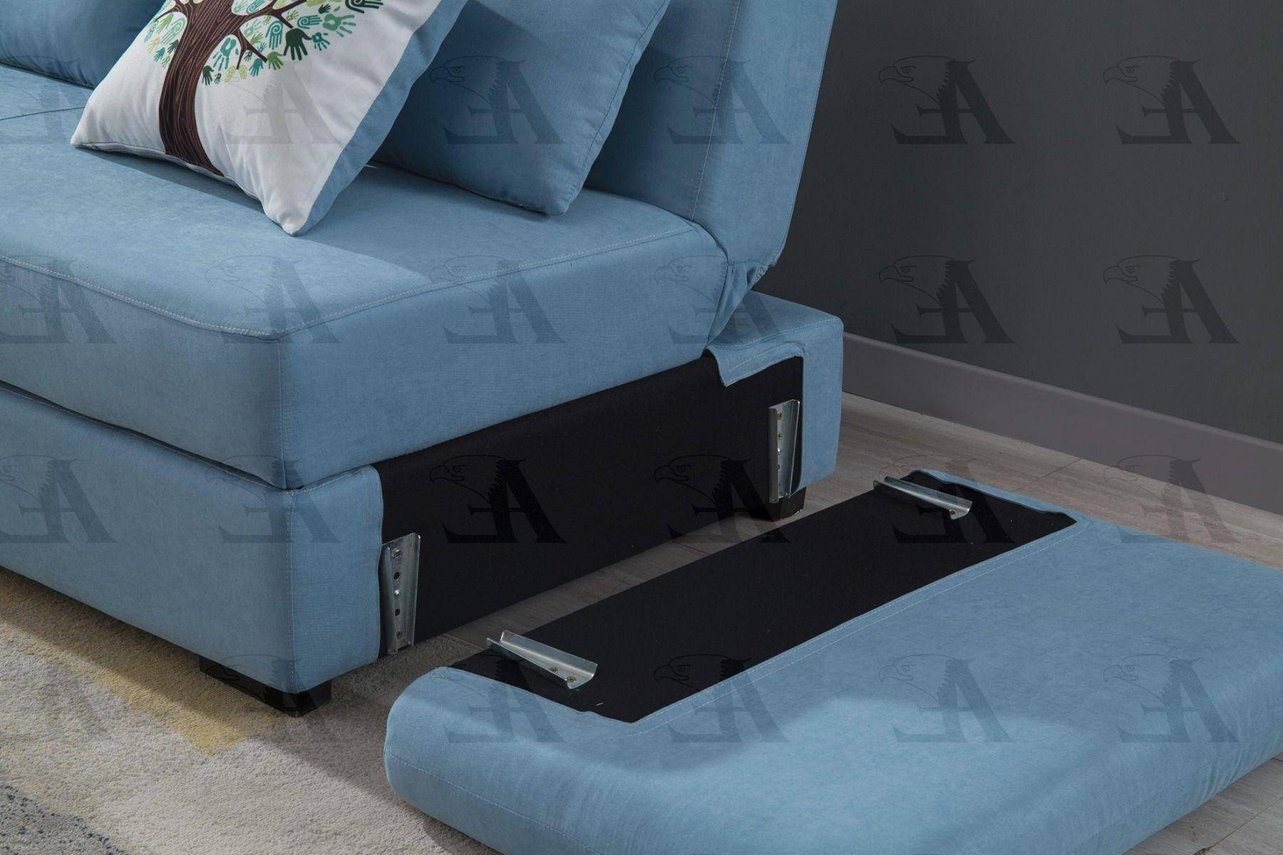Sofa Bed for Bedroom New Blue Velvet Sectional sofa Bed Set W Storage Left Chaise