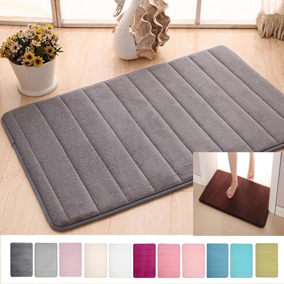 Soft Rugs for Bedroom Beautiful Details About Memory Foam Absorbent soft Floor Mats Non Slip Rugs Bath Bathroom Bedroom Carpet