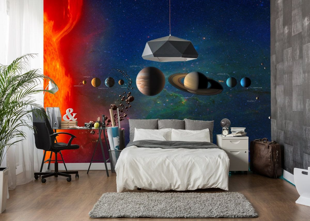 Solar System Bedroom Decor Awesome solar System Planets & Galaxy Wall Mural