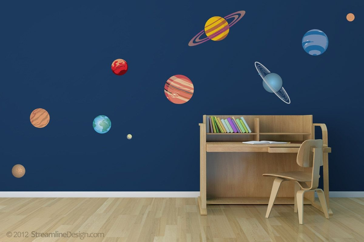 Solar System Bedroom Decor Beautiful Planetary System Ten Piece Printed Matte Removable Decals