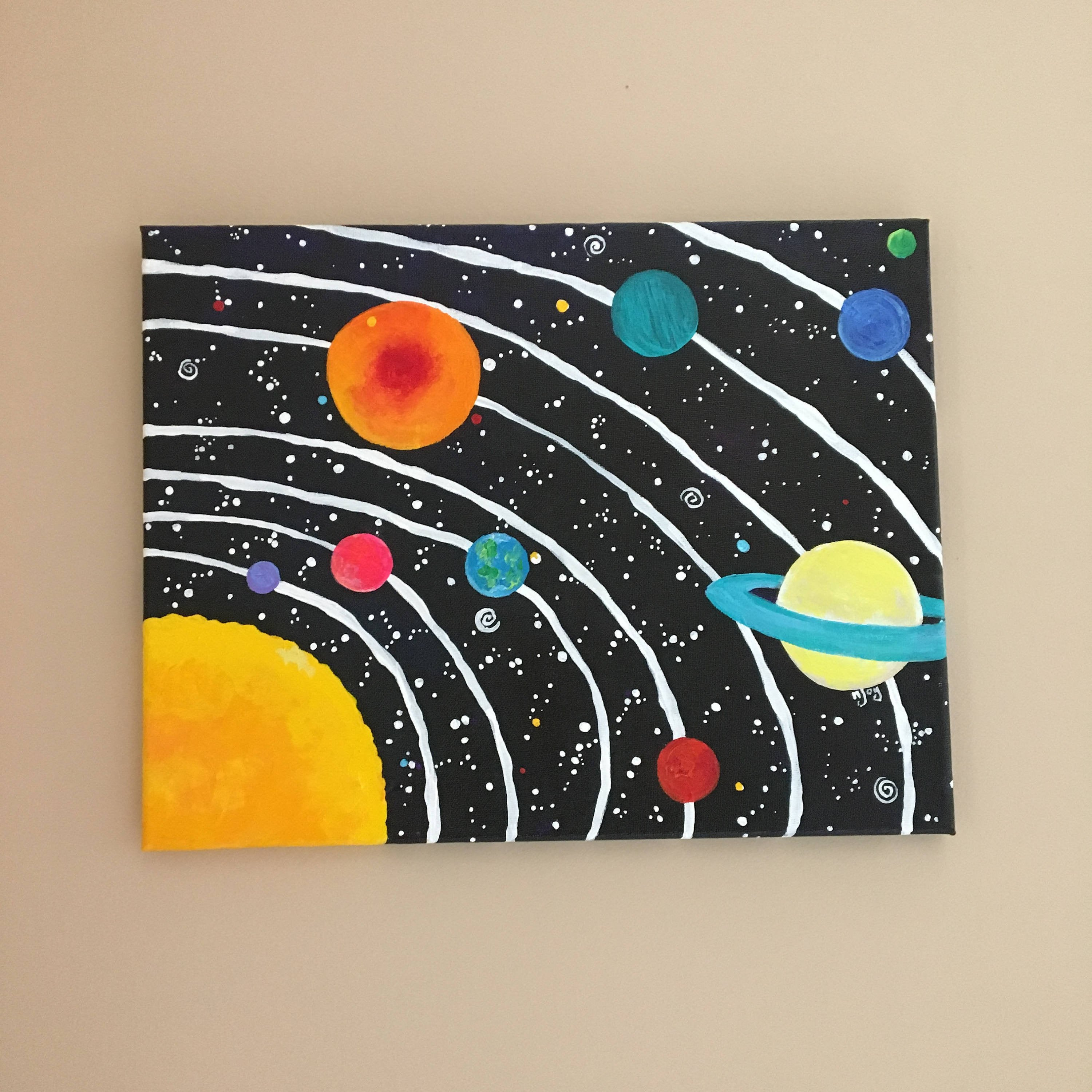 Solar System Bedroom Decor Lovely Space Art for Kids Room solar System No 11 14x11 Inch Acrylic Space Painting for Space themed Childrens Room or Baby Nursery Decor