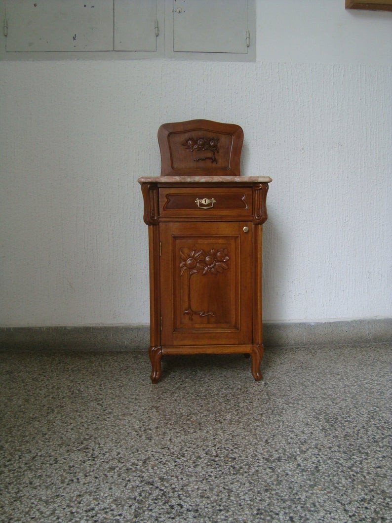 Solid Cherry Wood Bedroom Furniture New Art Nouveau Nightstand 1905