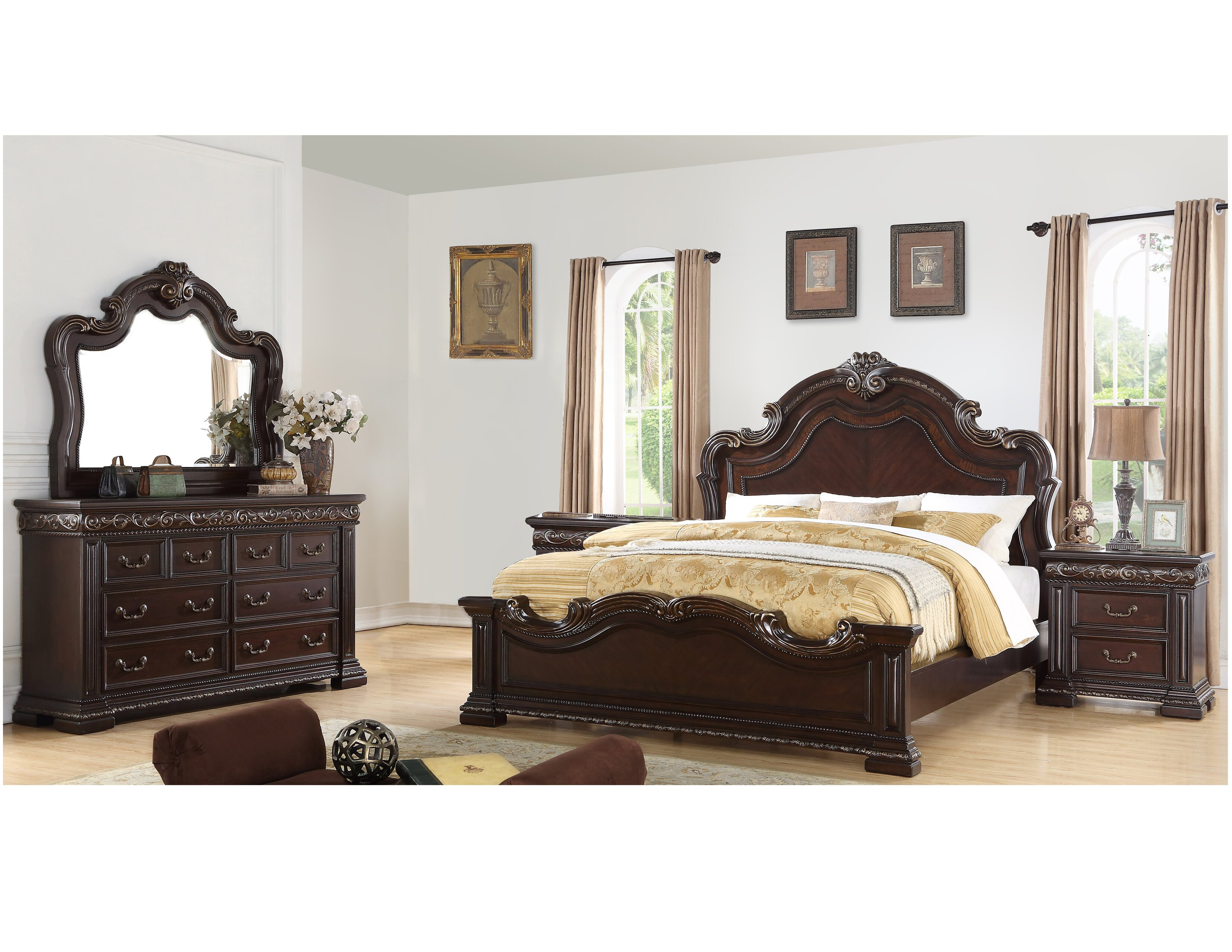 Solid Cherry Wood Bedroom Furniture New Bannruod Standard solid Wood 5 Piece Bedroom Set