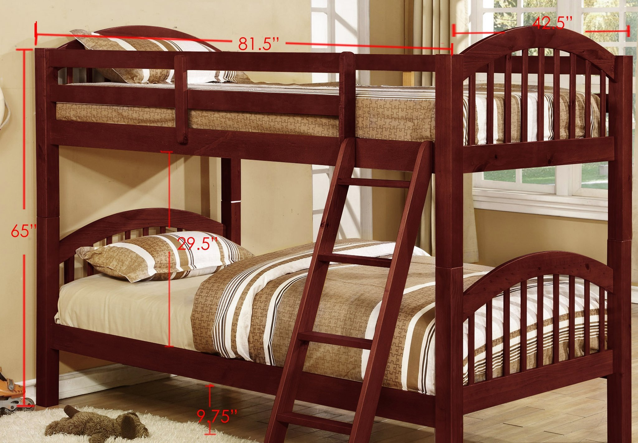 Solid Cherry Wood Bedroom Furniture Unique Beth Bunk Bed Twin Over Twin Cherry Wood Arched Headboard