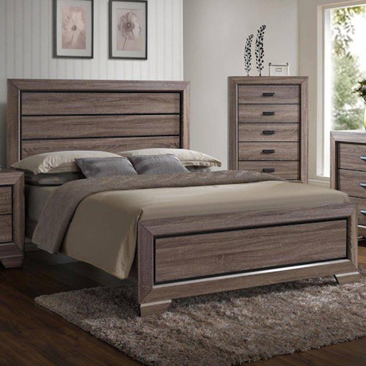 Solid Oak Bedroom Furniture Elegant Crown Mark B5500 Farrow Grey Brown Finish solid Wood Queen