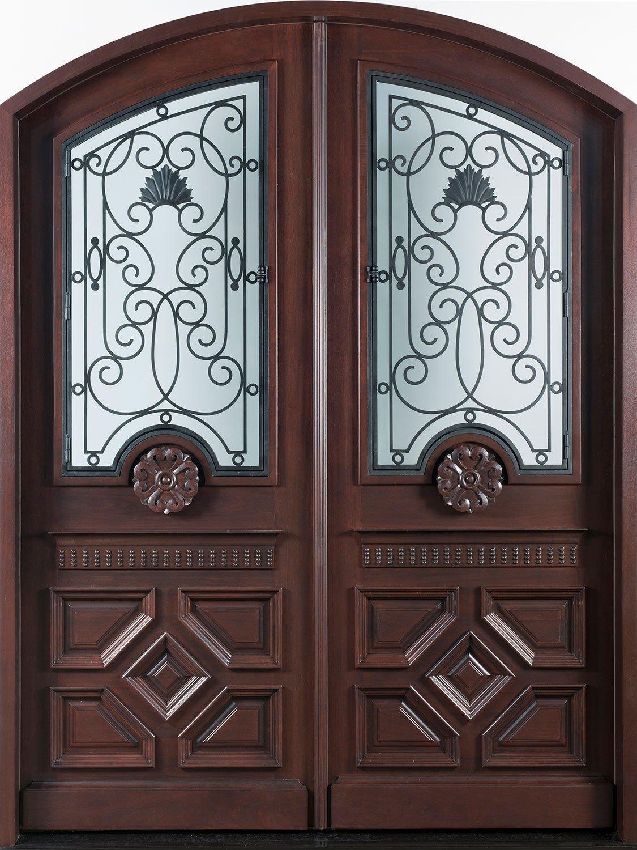 Solid Wood Bedroom Doors Luxury Front Door Custom Double solid Wood with Dark Mahogany