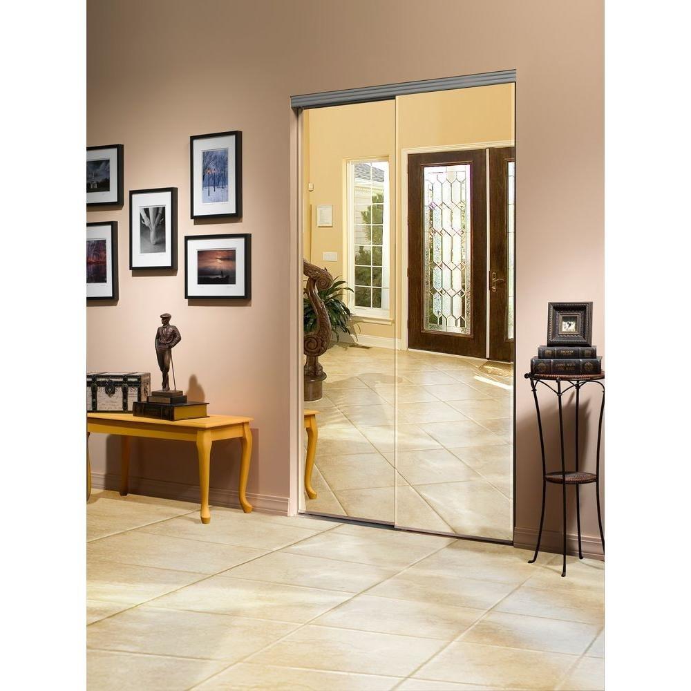 Solid Wood Bedroom Doors Luxury Impact Plus 60 In X 80 In Beveled Edge Backed Mirror Aluminum Frame Interior Closet Sliding Door with Chrome Trim