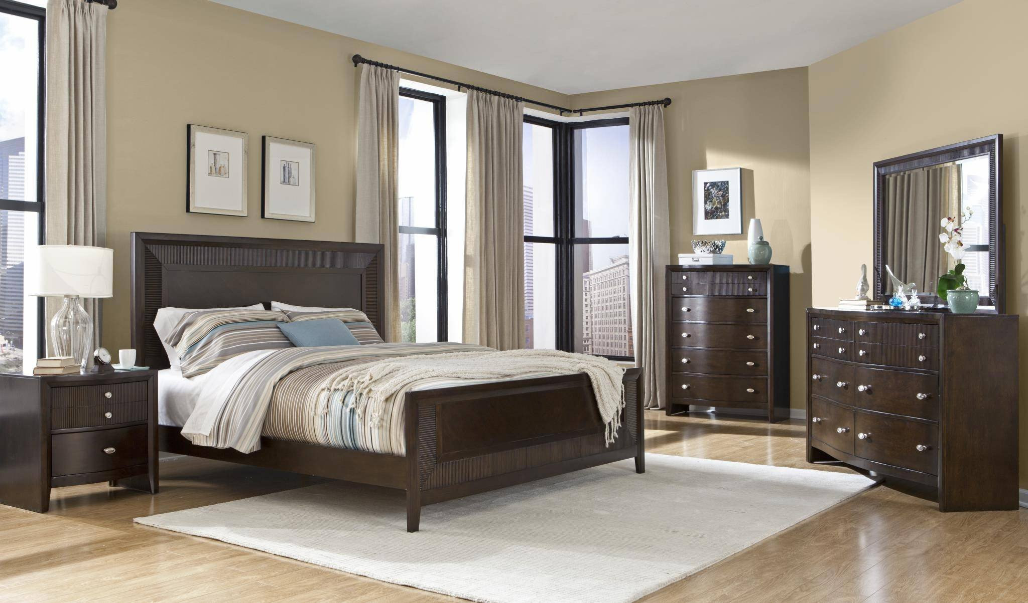 Solid Wood Bedroom Set Elegant Myco Furniture Em3111k Empire Espresso Finish Ribbed Wood King Panel Bedroom Set 4pcs