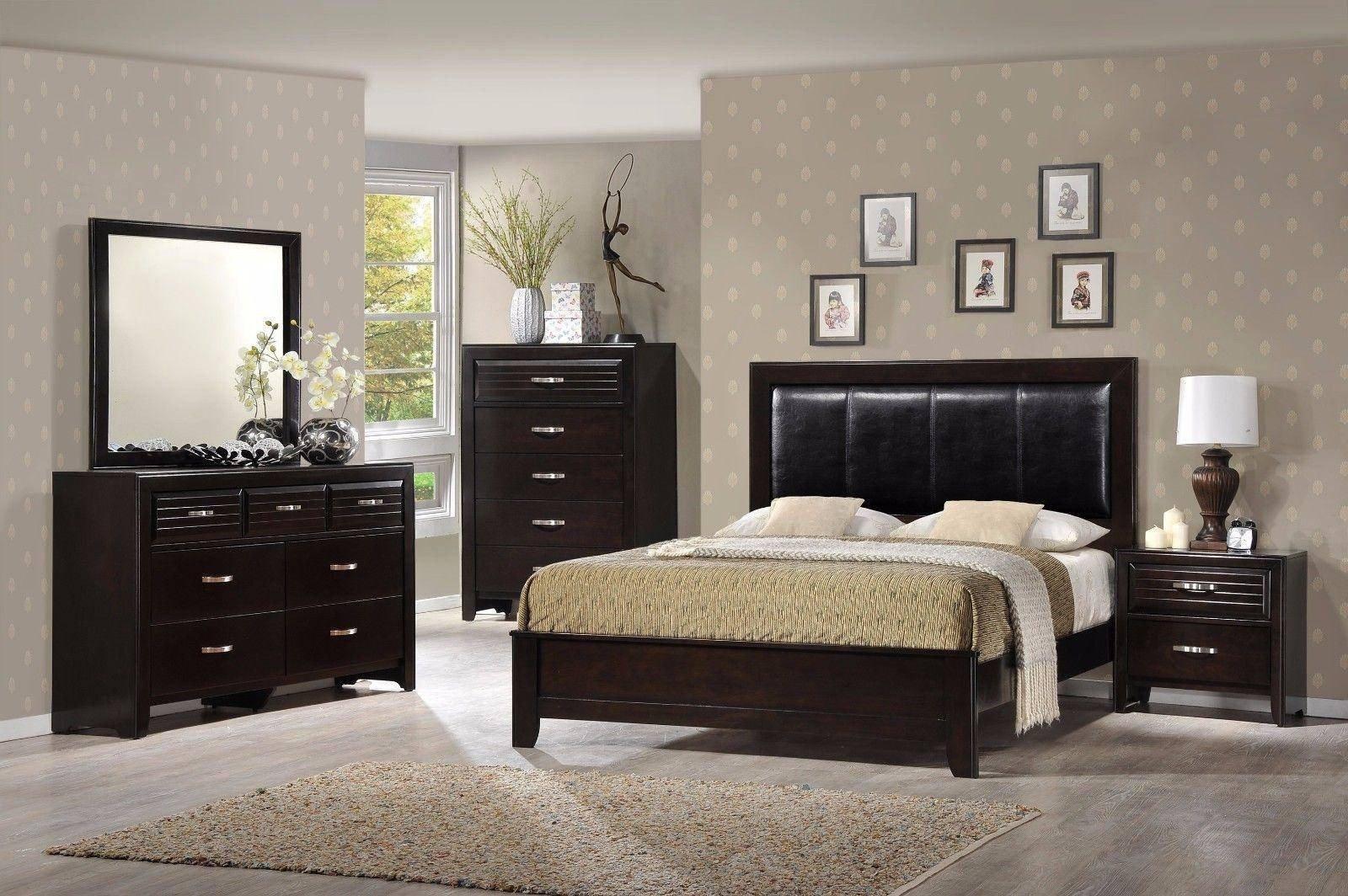Solid Wood Bedroom Set Luxury Crown Mark B7400 Jocelyn Dark Espresso solid Wood King Size Bedroom Set 3pcs