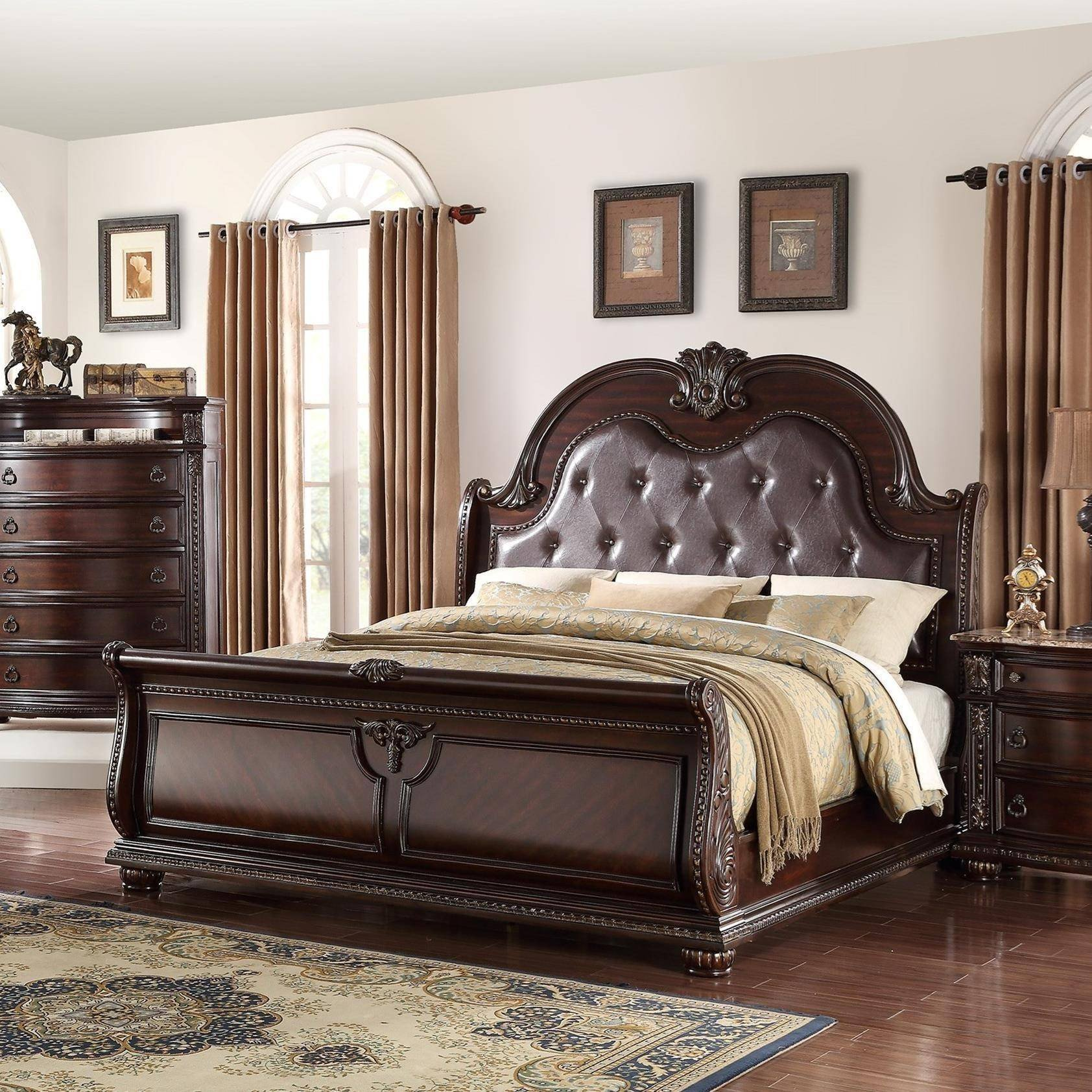 Solid Wood Bedroom Set New Crown Mark B1600 Stanley Cherry Finish solid Wood King