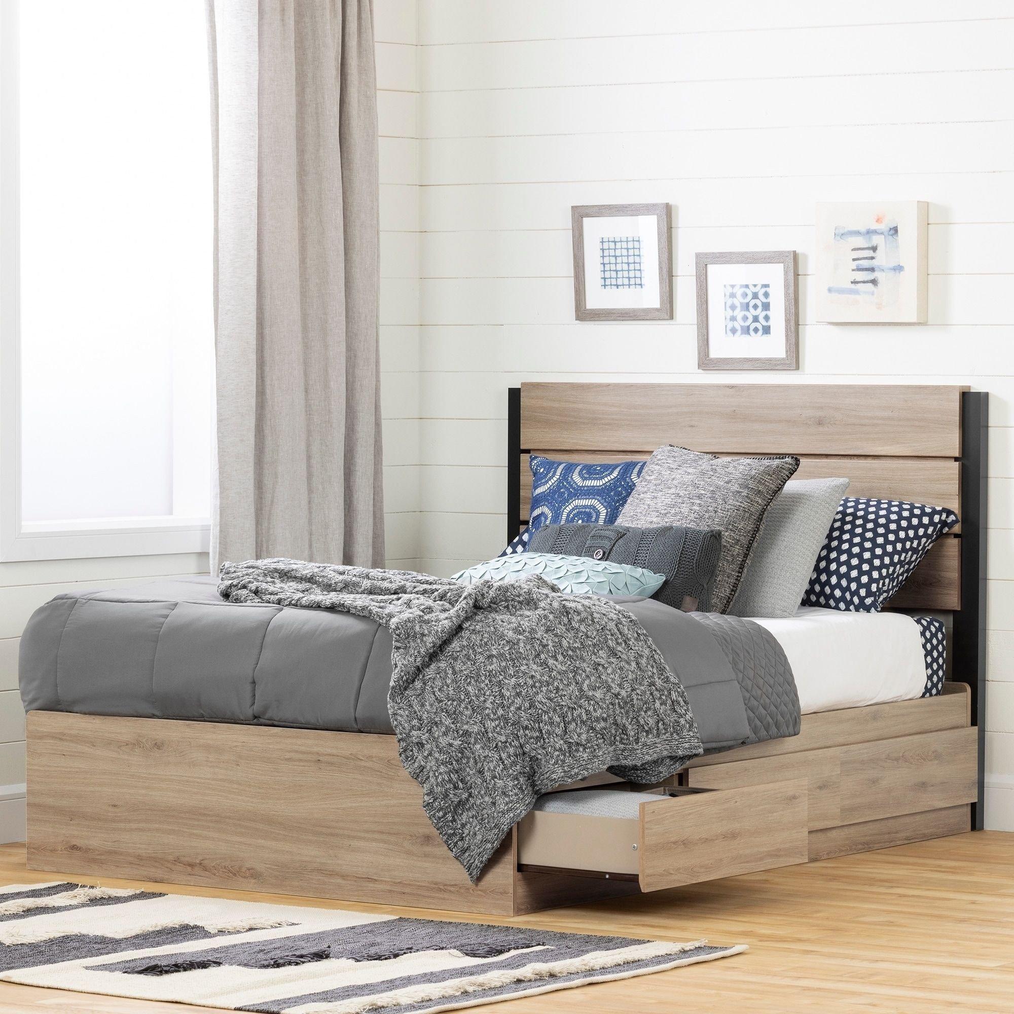 South Shore Bedroom Set Elegant south Shore Fakto Bed Set Bed and Headboard Rustic Oak