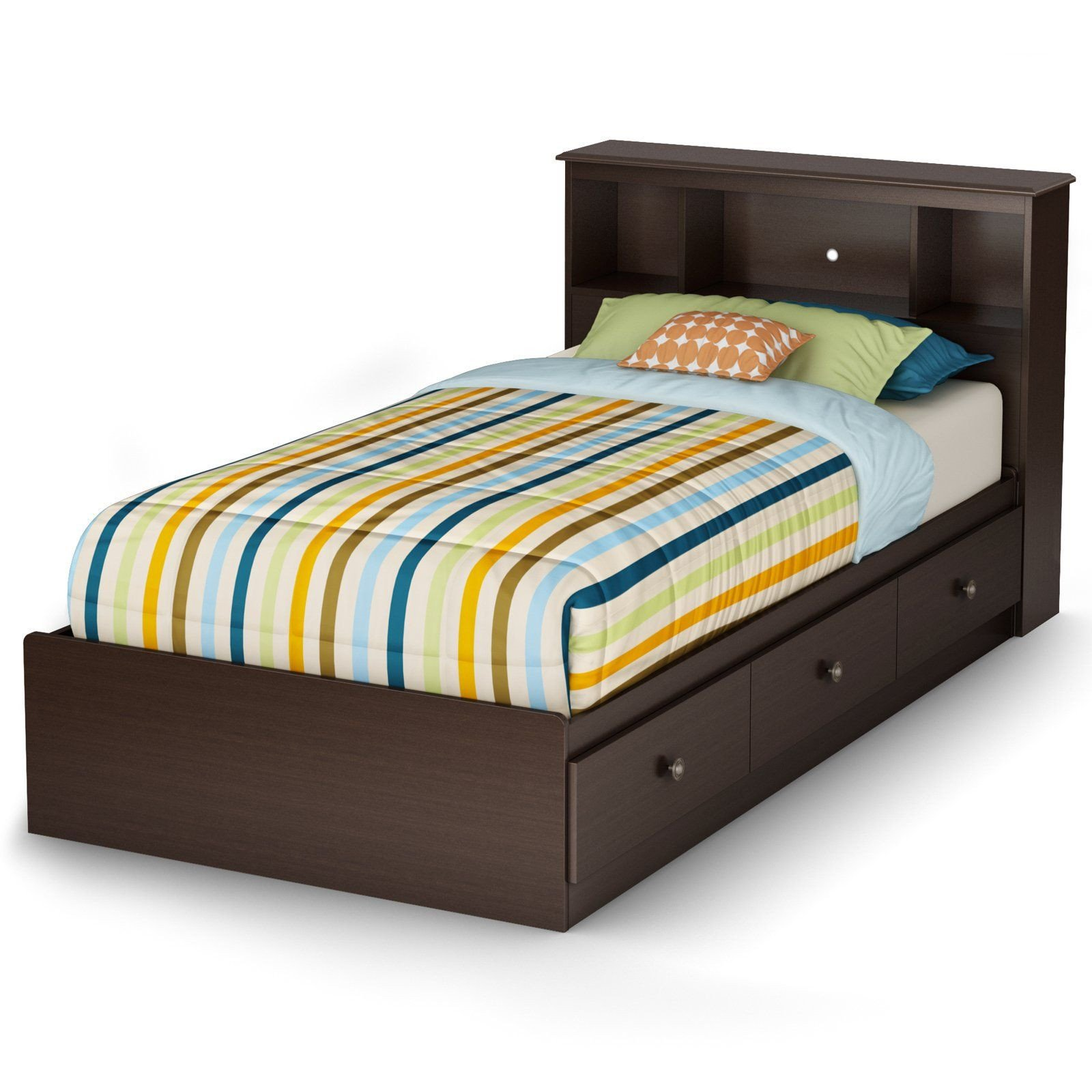 South Shore Bedroom Set Lovely south Shore Zach Collection Twin Bookcase Bed Chocolate