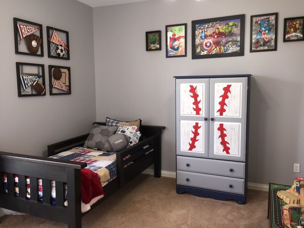 Sports Bedroom Decorating Ideas Awesome Little Boy Room toddler Decor Sports Superheroes and