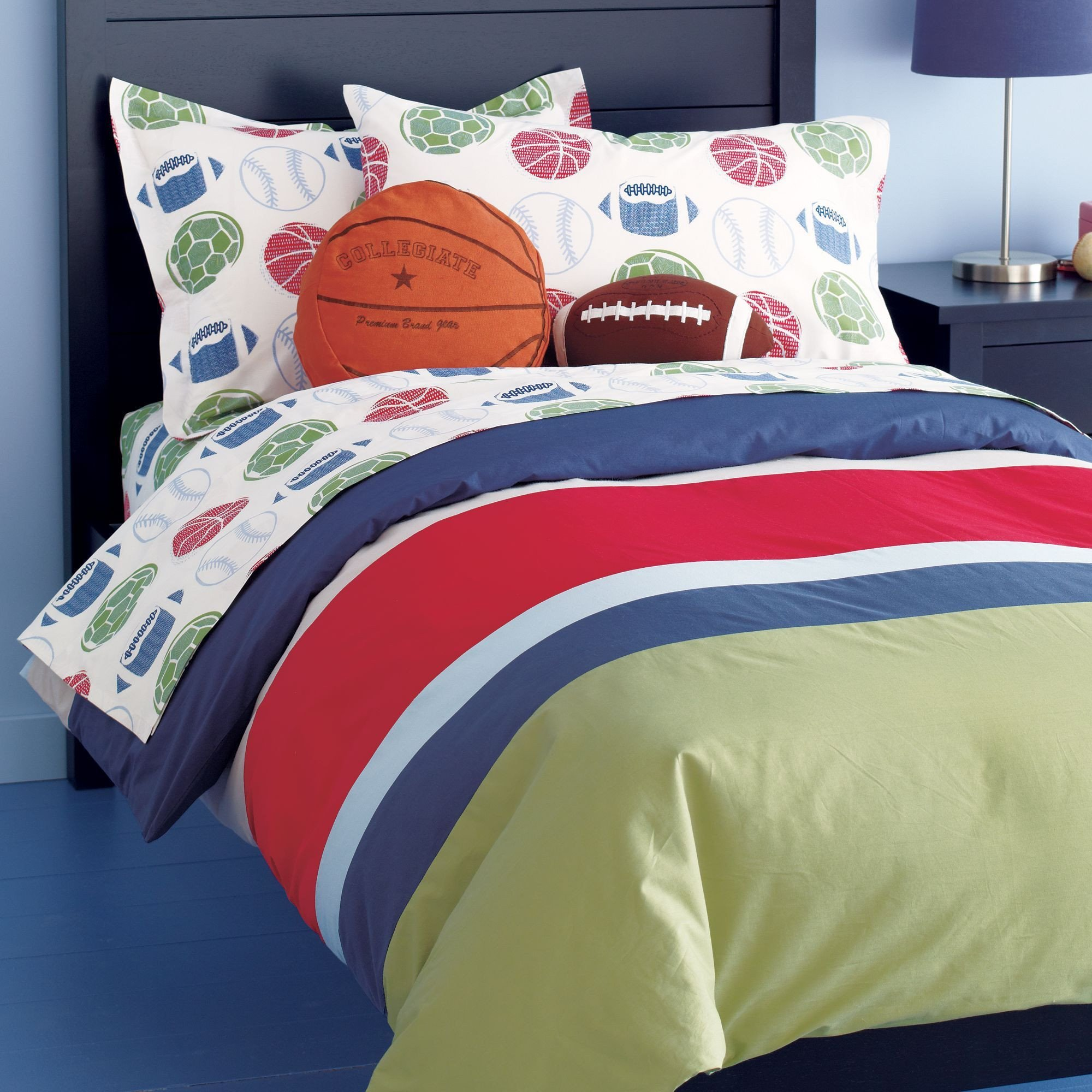 Sports Bedroom Decorating Ideas Fresh Sports Bedding Set Basketball Football Baseballs and