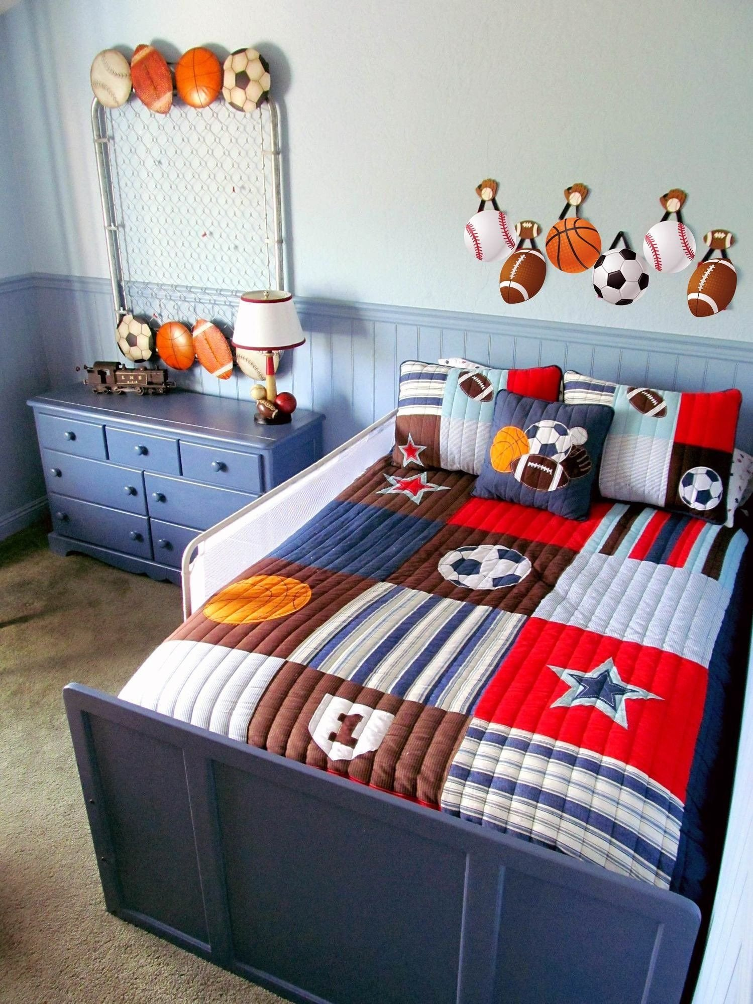 "Sports themed Bedroom Decor New A Red & Blue ""big Boy"" Sports Room"