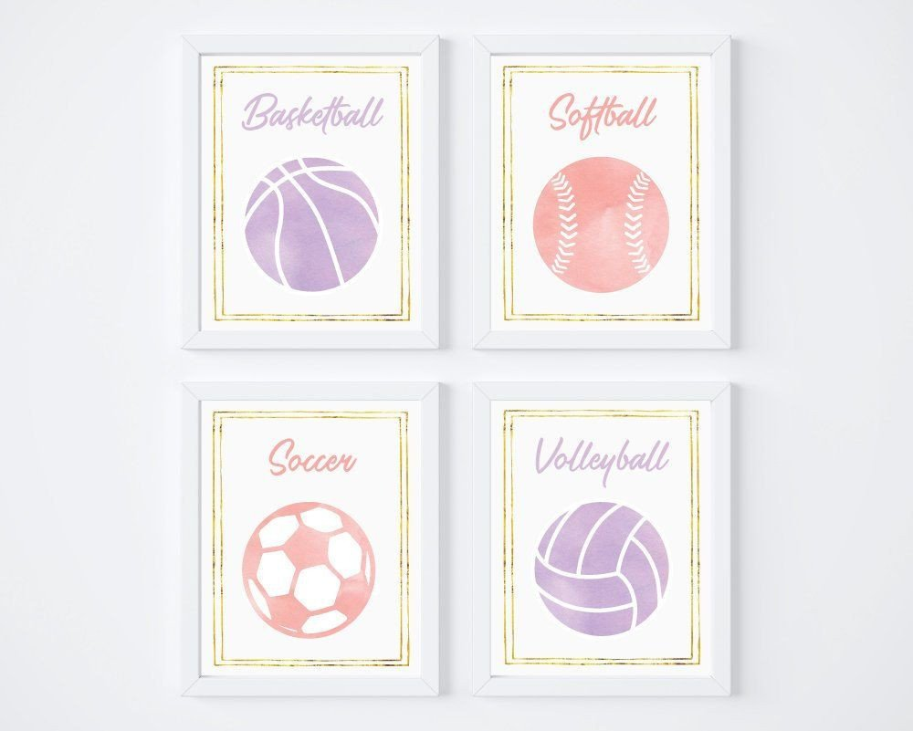 Sports themed Bedroom Decor New I Love these Pink and Purple Prints for A Girl S Sports