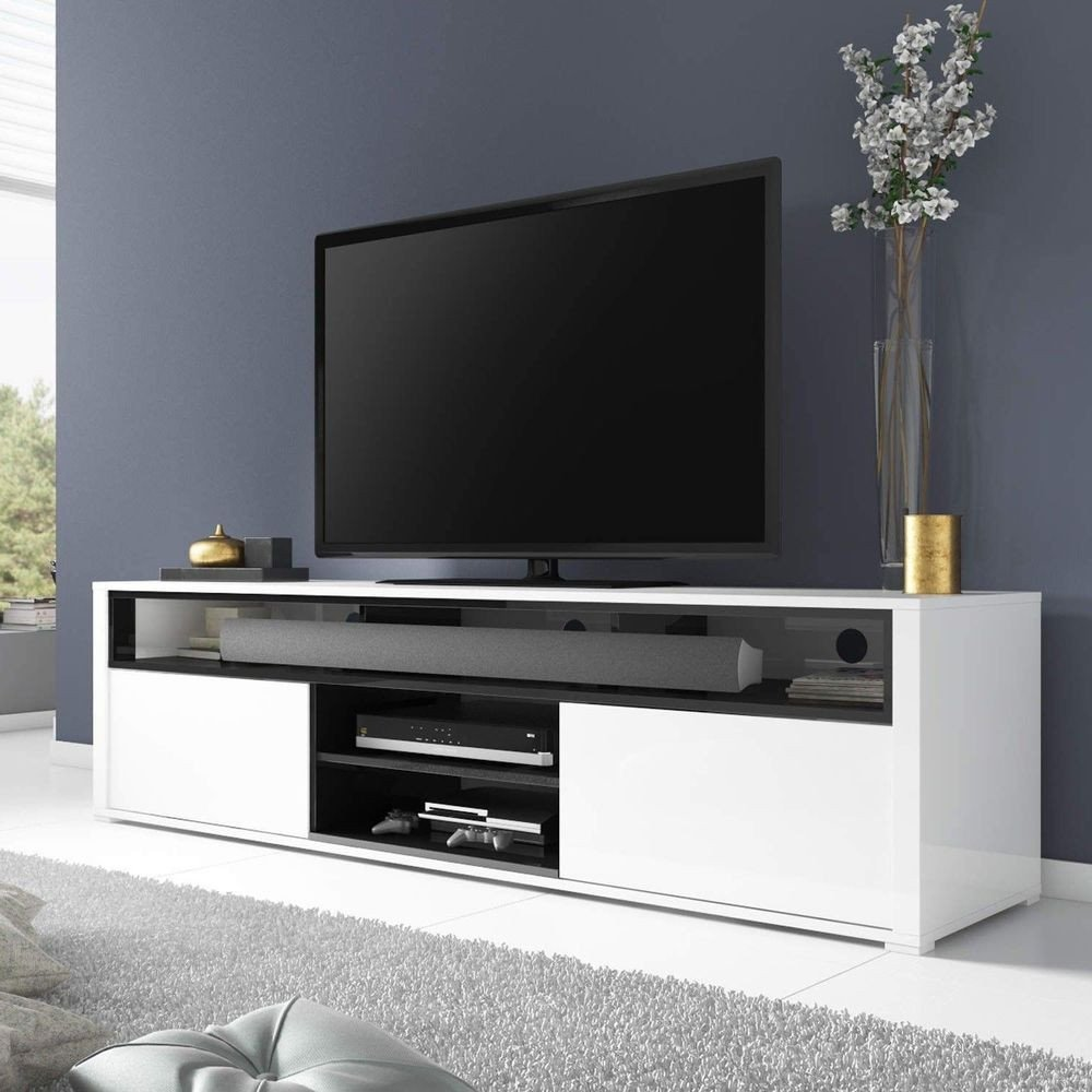 Table for Tv In Bedroom Awesome High Gloss Tv Unit White with soundbar Shelf 2 Cupboard