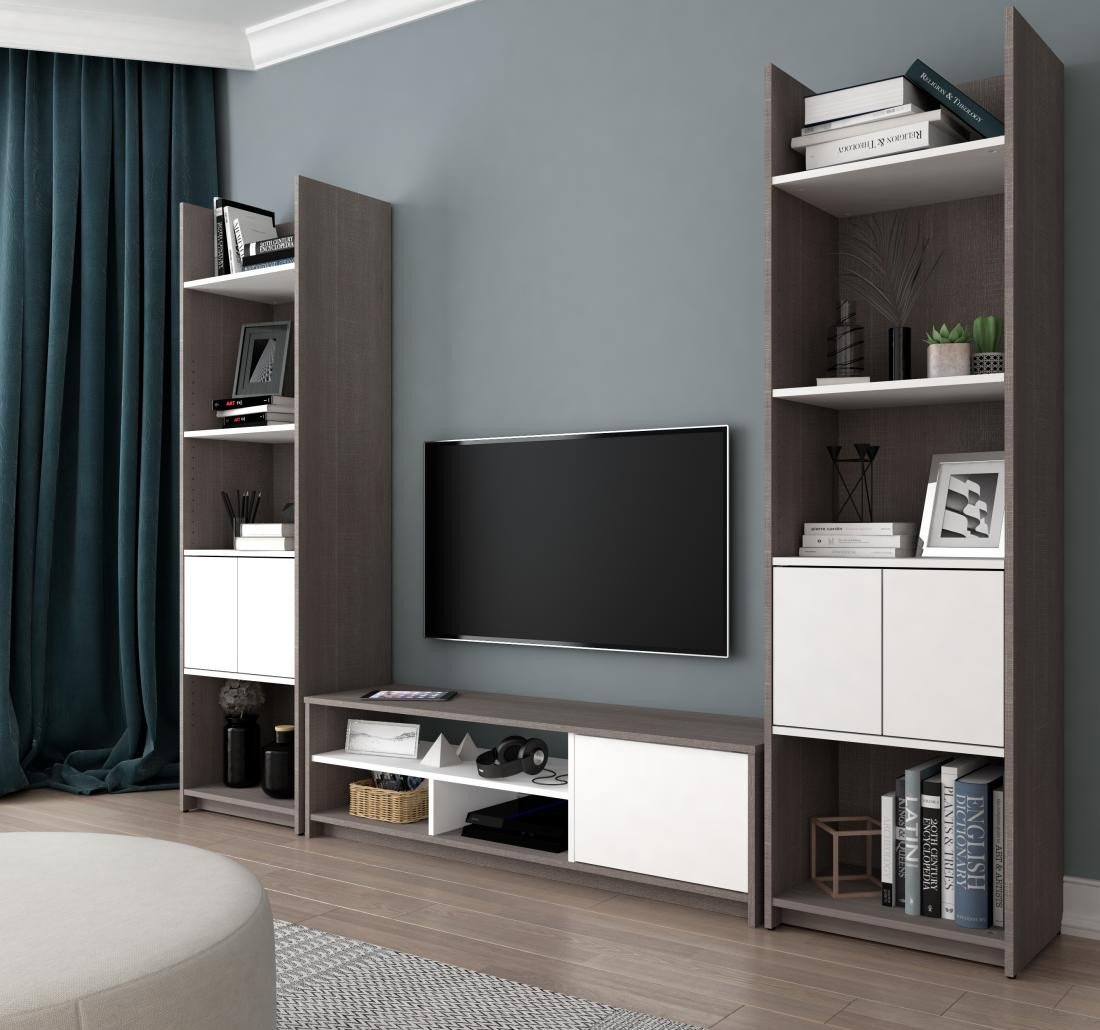 Table for Tv In Bedroom Fresh Small Space 3 Piece Set Including Shelving Units and A Tv