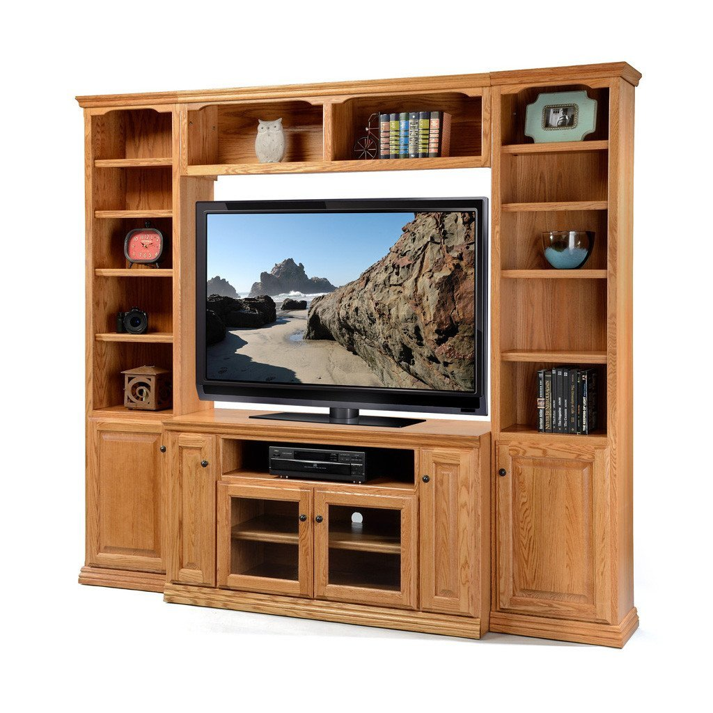 "Tall Tv Stand for Bedroom Lovely Od O T54wall Traditional Oak Wall System with 54"" Tv Stand"